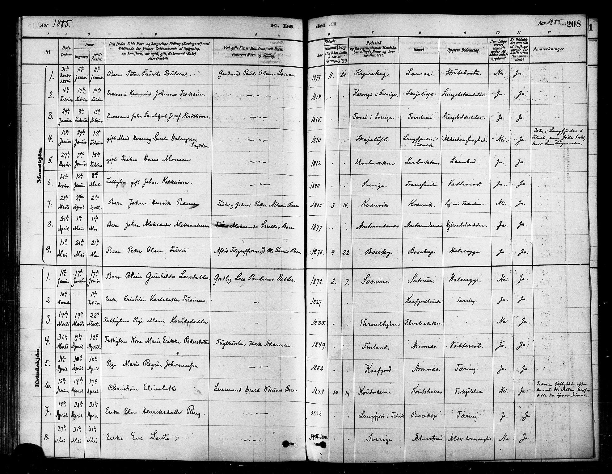 SATØ, Alta sokneprestembete, Ministerialbok nr. 2, 1879-1892, s. 208