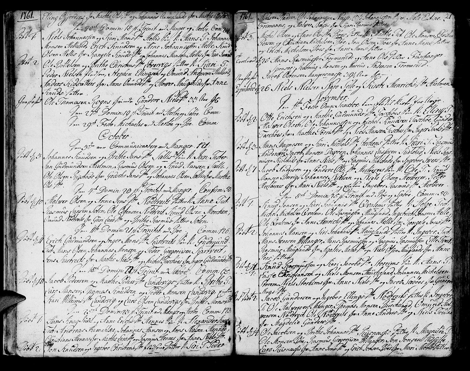 SAB, Manger sokneprestembete, H/Haa: Ministerialbok nr. A 1, 1759-1791, s. 21