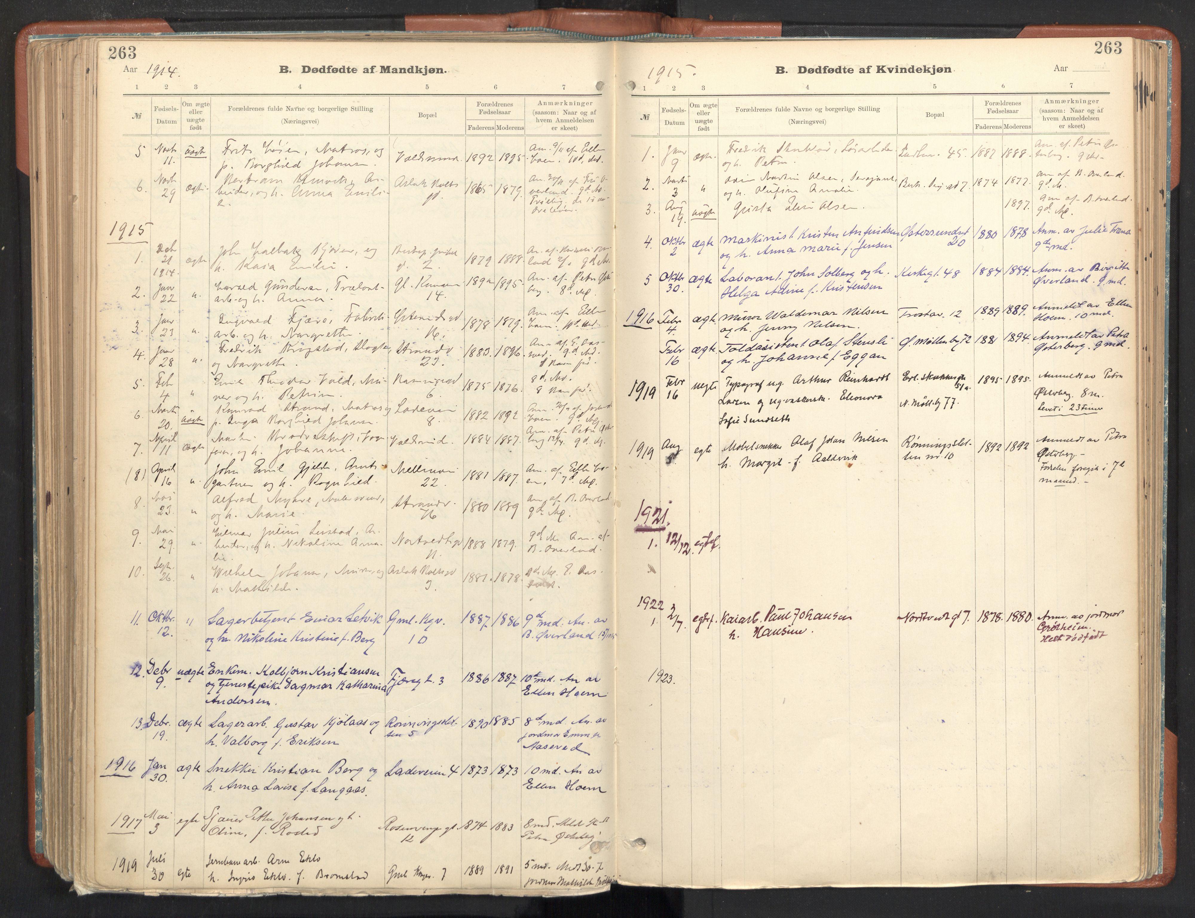 SAT, Ministerialprotokoller, klokkerbøker og fødselsregistre - Sør-Trøndelag, 605/L0243: Ministerialbok nr. 605A05, 1908-1923, s. 263