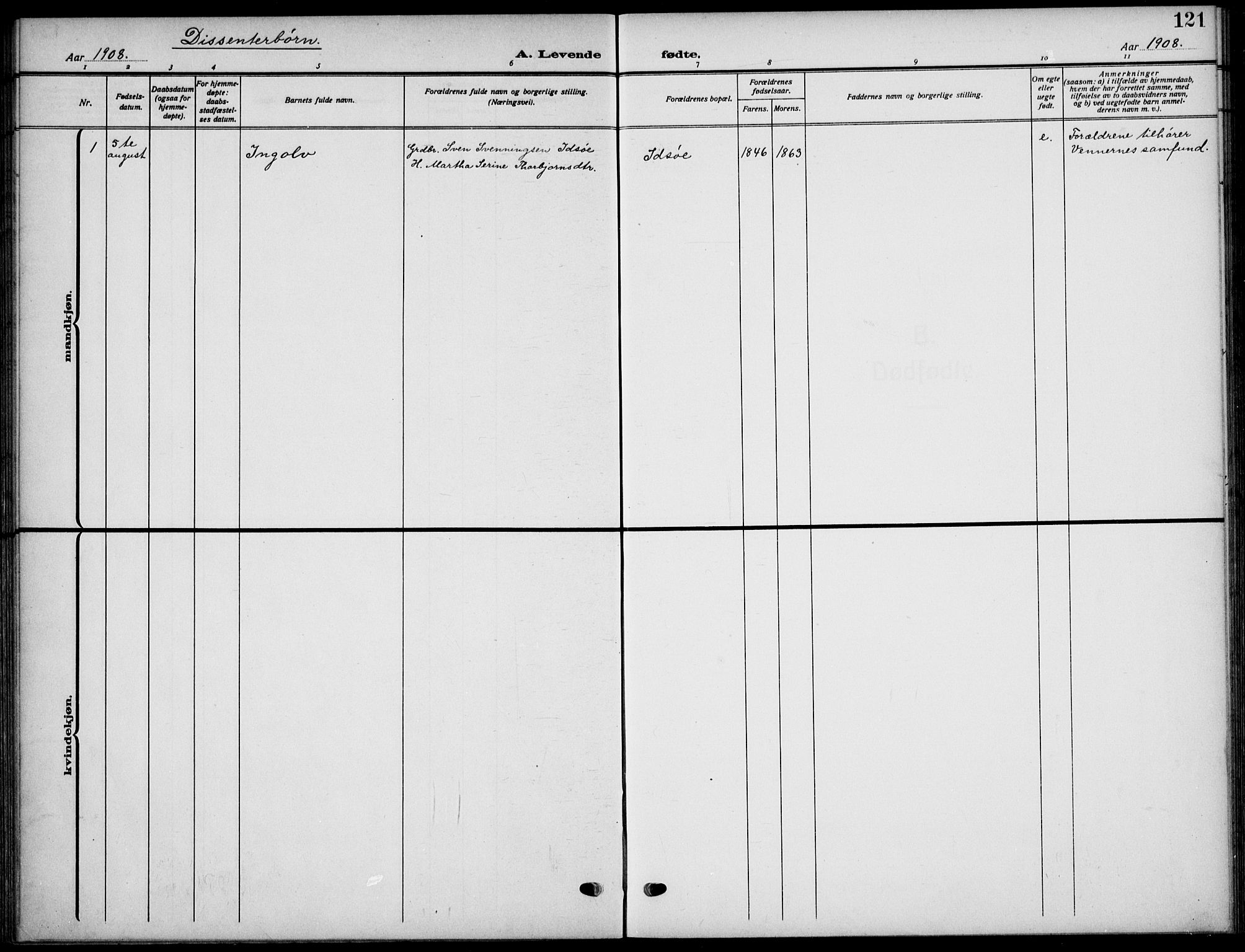 SAST, Strand sokneprestkontor, H/Ha/Haa/L0011: Ministerialbok nr. A 11, 1908-1930, s. 121