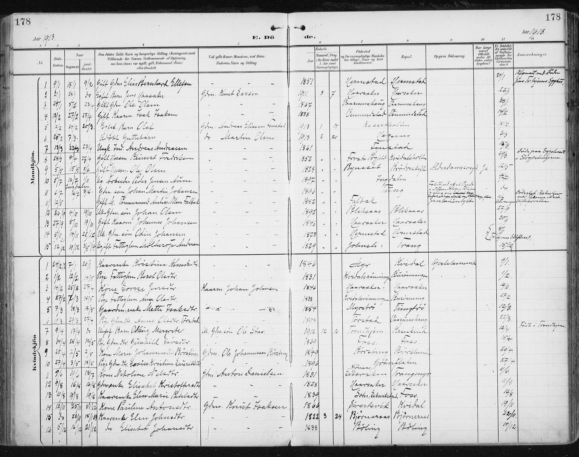 SAT, Ministerialprotokoller, klokkerbøker og fødselsregistre - Sør-Trøndelag, 646/L0616: Ministerialbok nr. 646A14, 1900-1918, s. 178