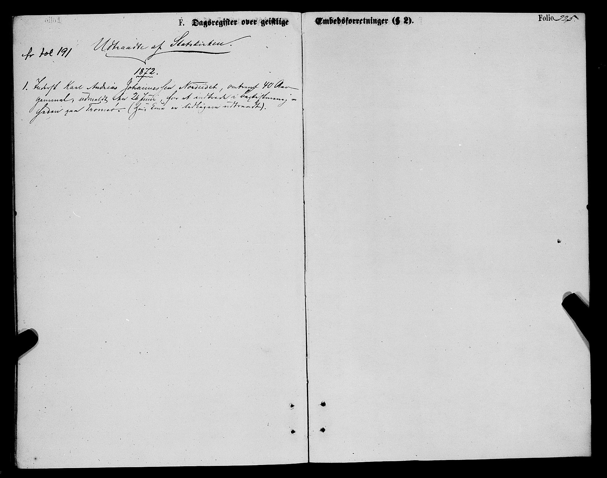 SATØ, Karlsøy sokneprestembete, Ministerialbok nr. 5, 1872-1878, s. 225