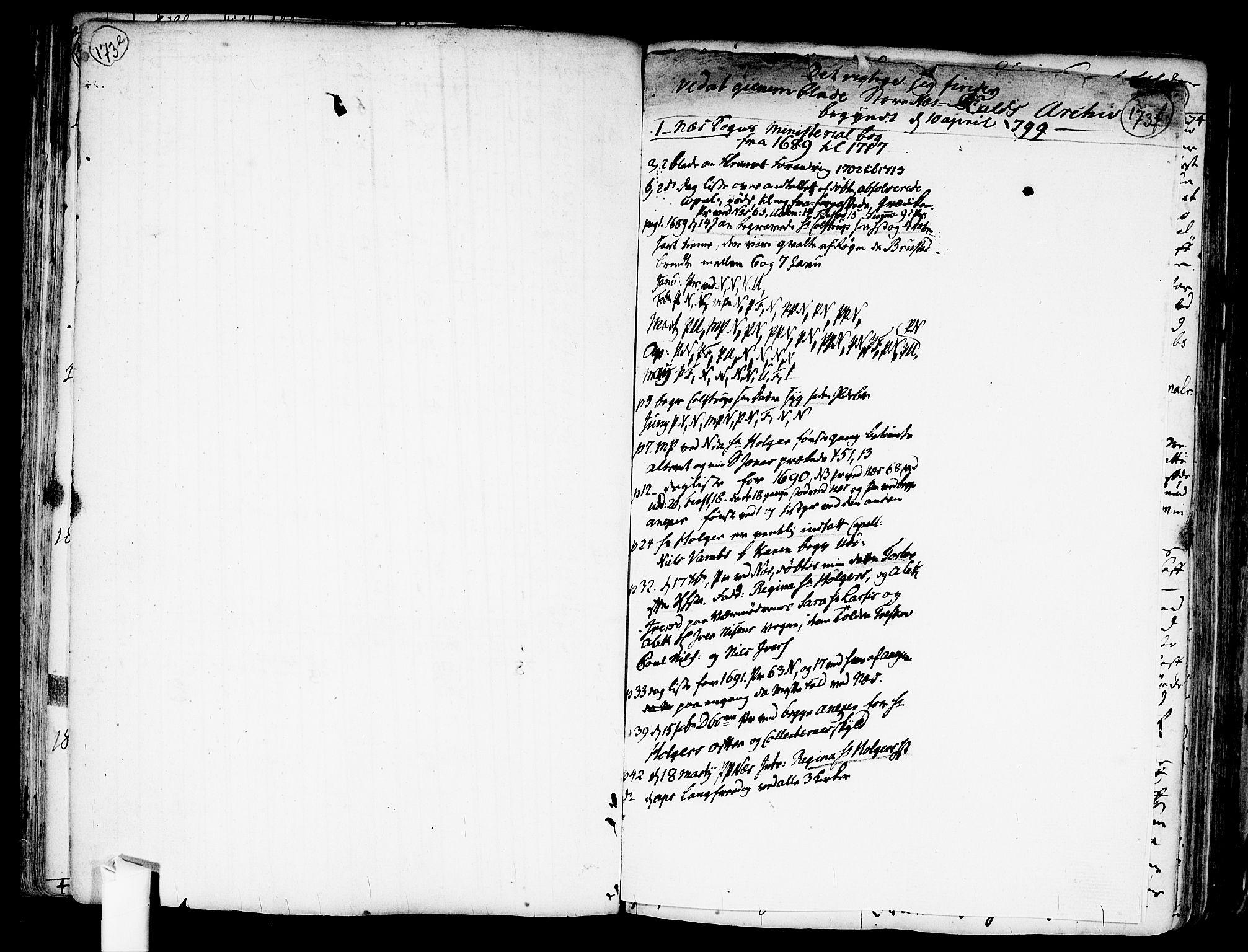 SAO, Nes prestekontor Kirkebøker, F/Fa/L0001: Ministerialbok nr. I 1, 1689-1716, s. 173f