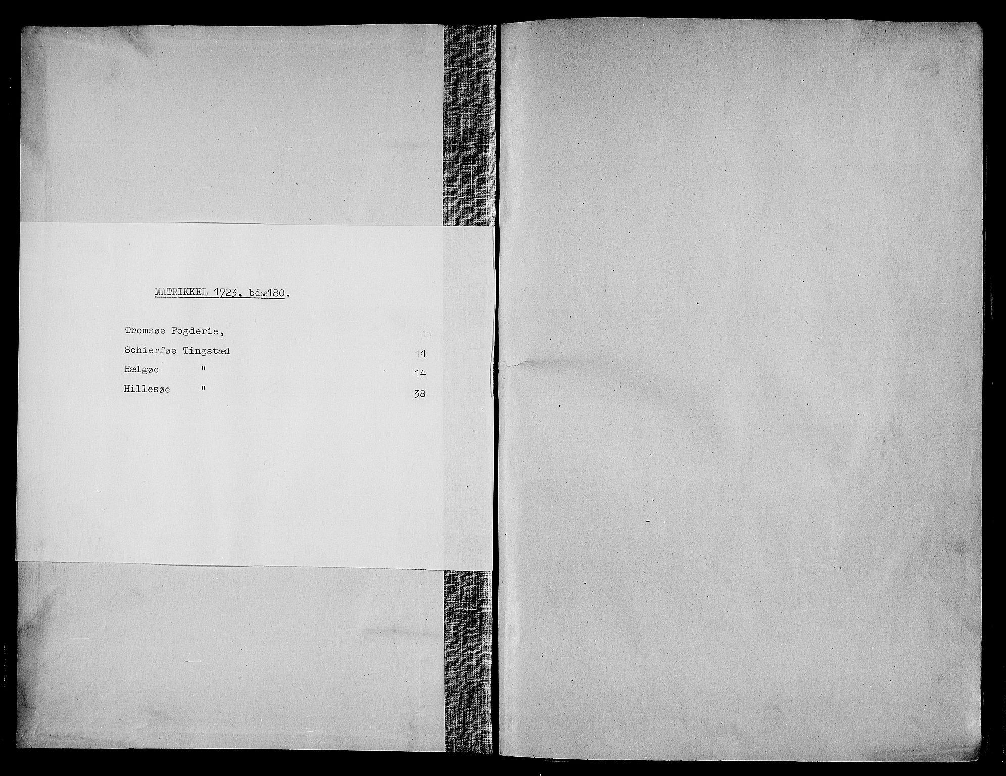 RA, Rentekammeret inntil 1814, Realistisk ordnet avdeling, N/Nb/Nbf/L0180: Troms eksaminasjonsprotokoll, 1723, s. upaginert