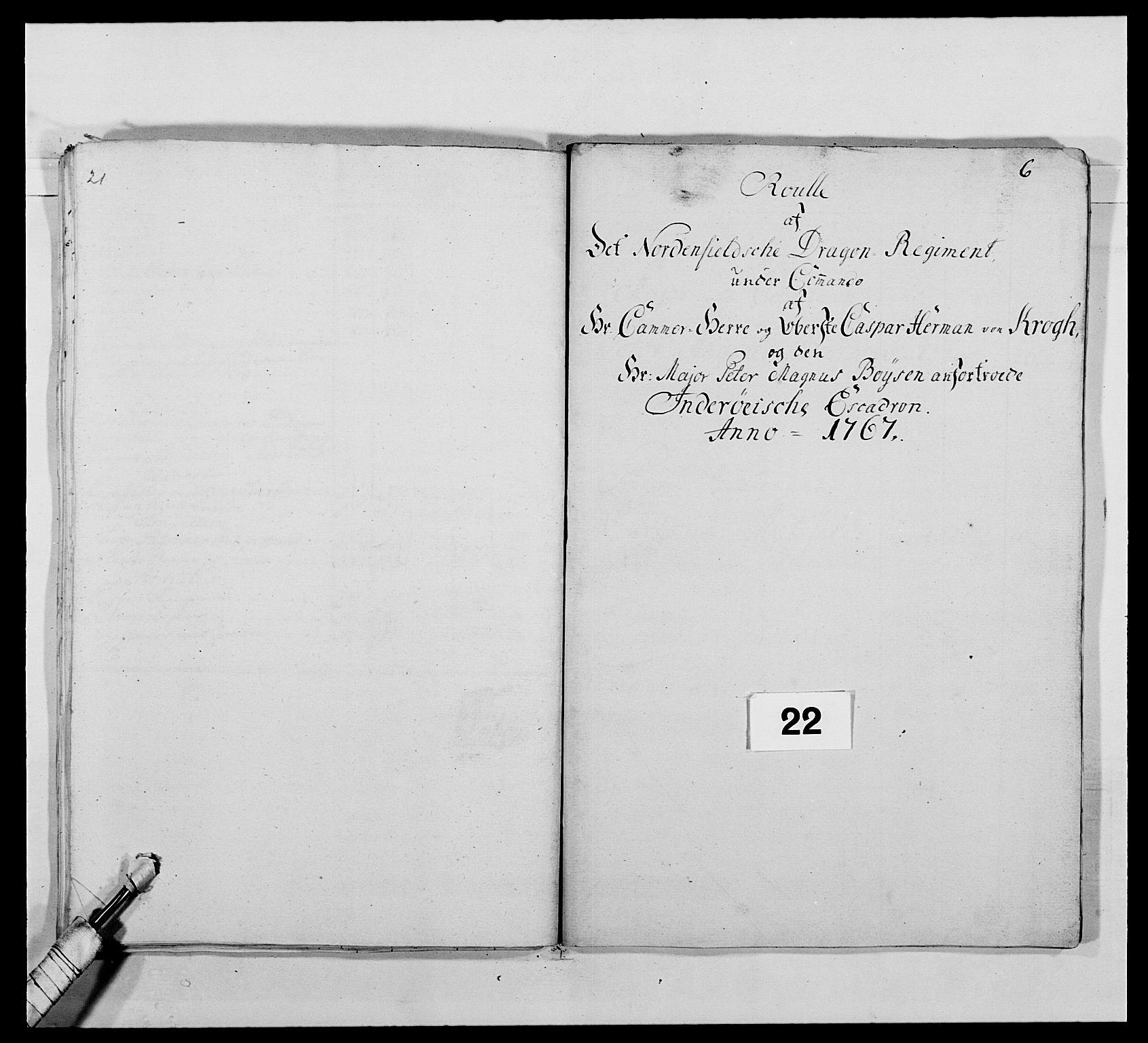 RA, Kommanderende general (KG I) med Det norske krigsdirektorium, E/Ea/L0483: Nordafjelske dragonregiment, 1765-1767, s. 560