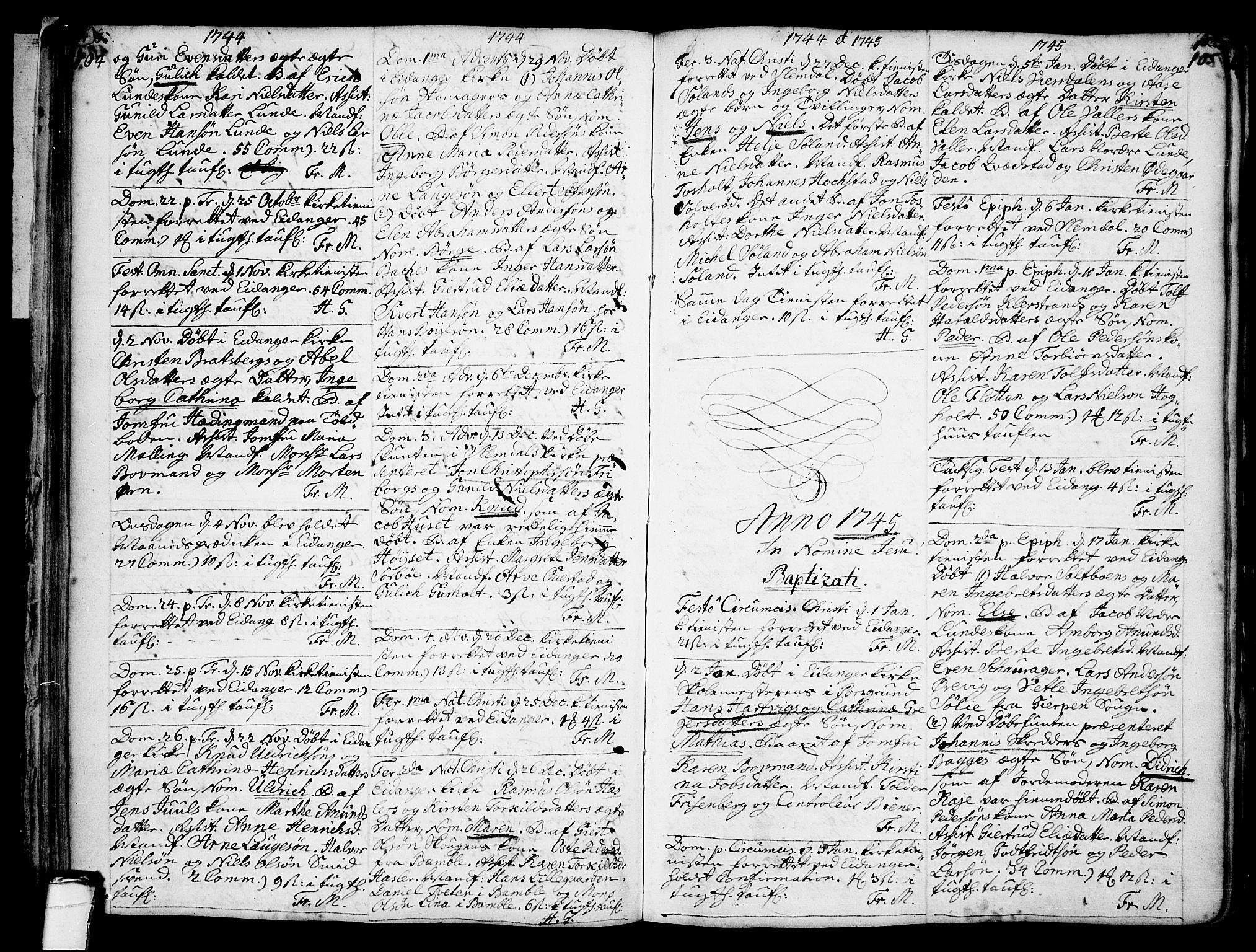 SAKO, Eidanger kirkebøker, F/Fa/L0004: Ministerialbok nr. 4, 1733-1759, s. 104-105