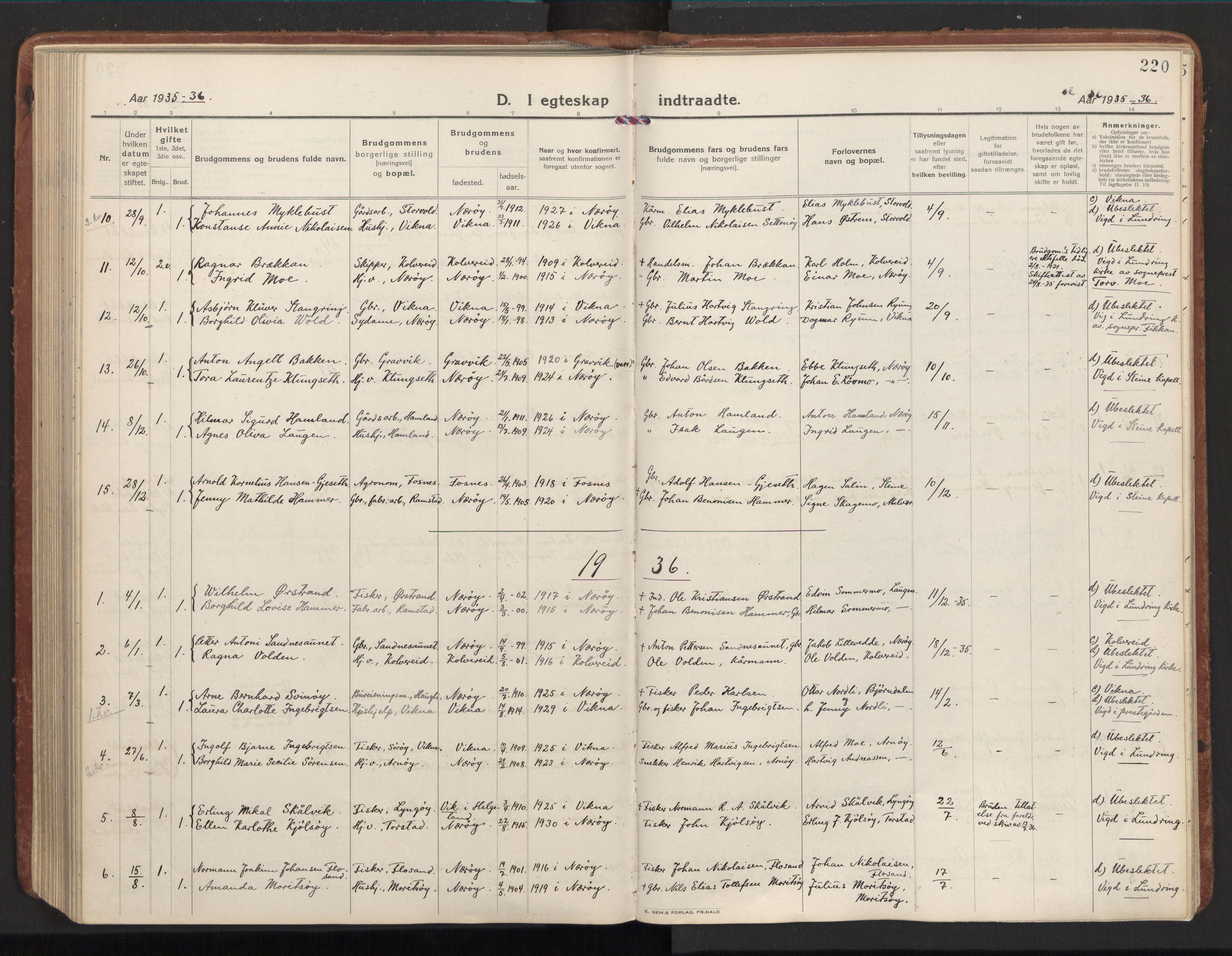 SAT, Ministerialprotokoller, klokkerbøker og fødselsregistre - Nord-Trøndelag, 784/L0678: Ministerialbok nr. 784A13, 1921-1938, s. 220