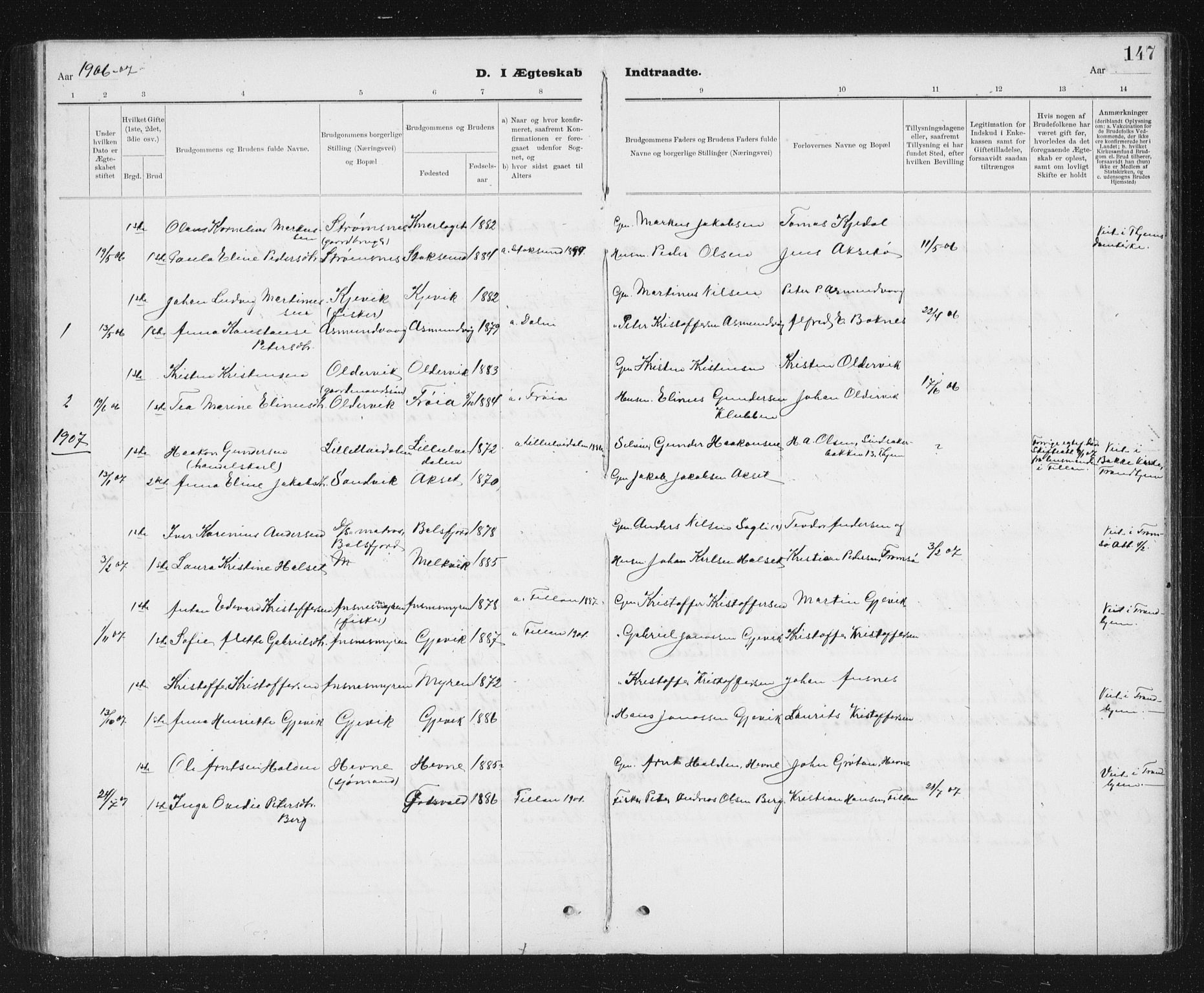 SAT, Ministerialprotokoller, klokkerbøker og fødselsregistre - Sør-Trøndelag, 637/L0563: Klokkerbok nr. 637C04, 1899-1940, s. 147