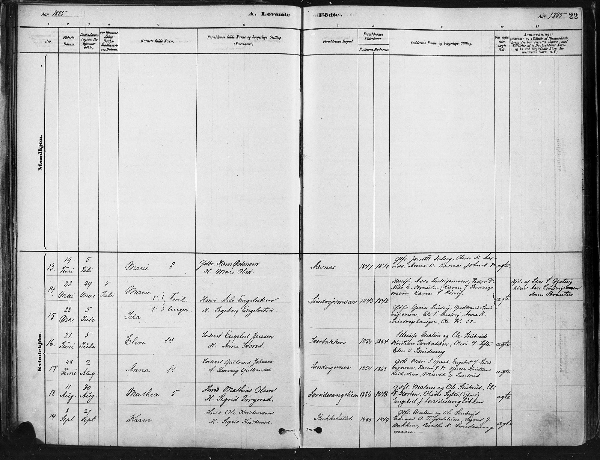 SAH, Ringebu prestekontor, Ministerialbok nr. 9, 1878-1898, s. 22
