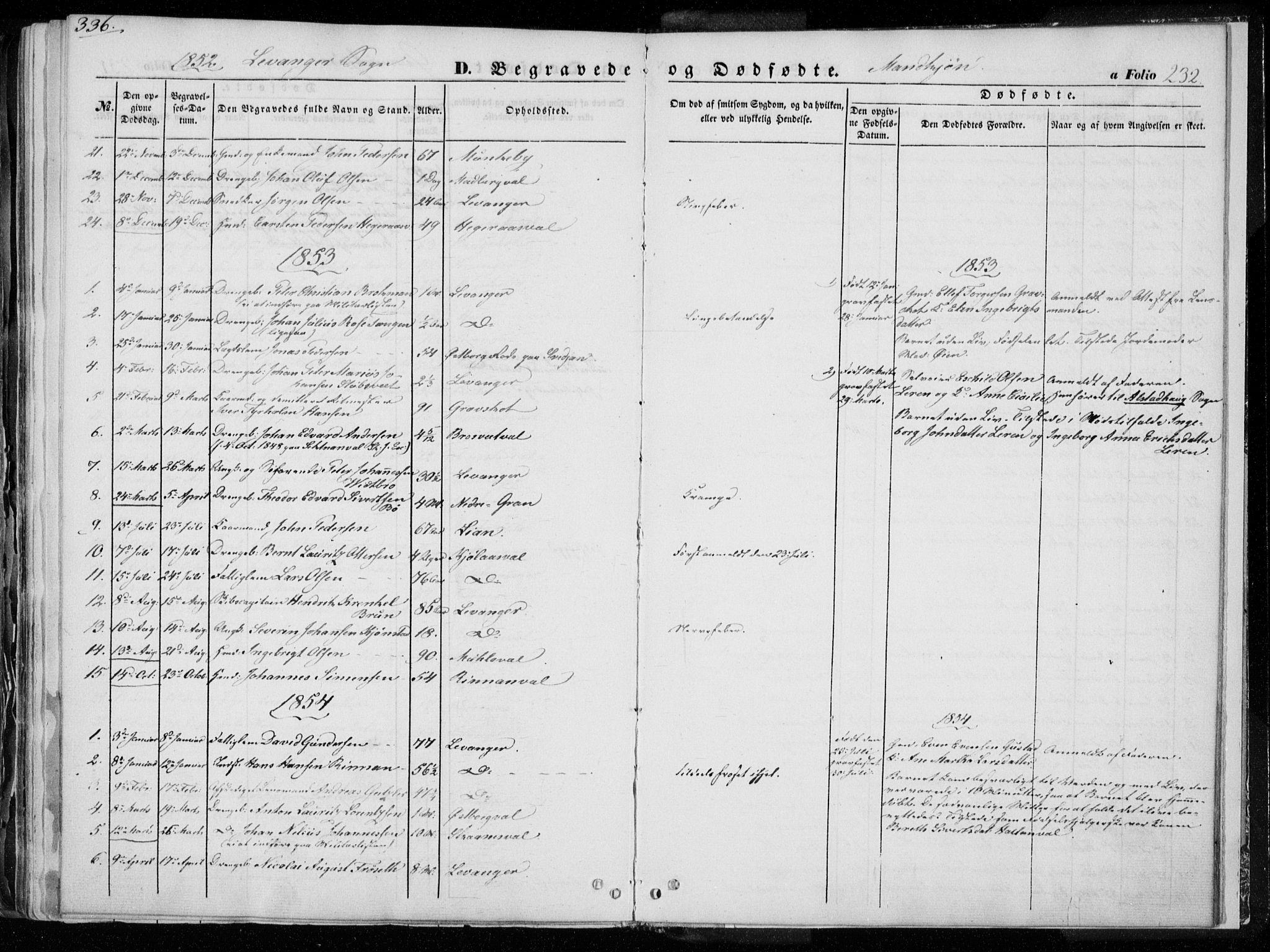 SAT, Ministerialprotokoller, klokkerbøker og fødselsregistre - Nord-Trøndelag, 720/L0183: Ministerialbok nr. 720A01, 1836-1855, s. 232