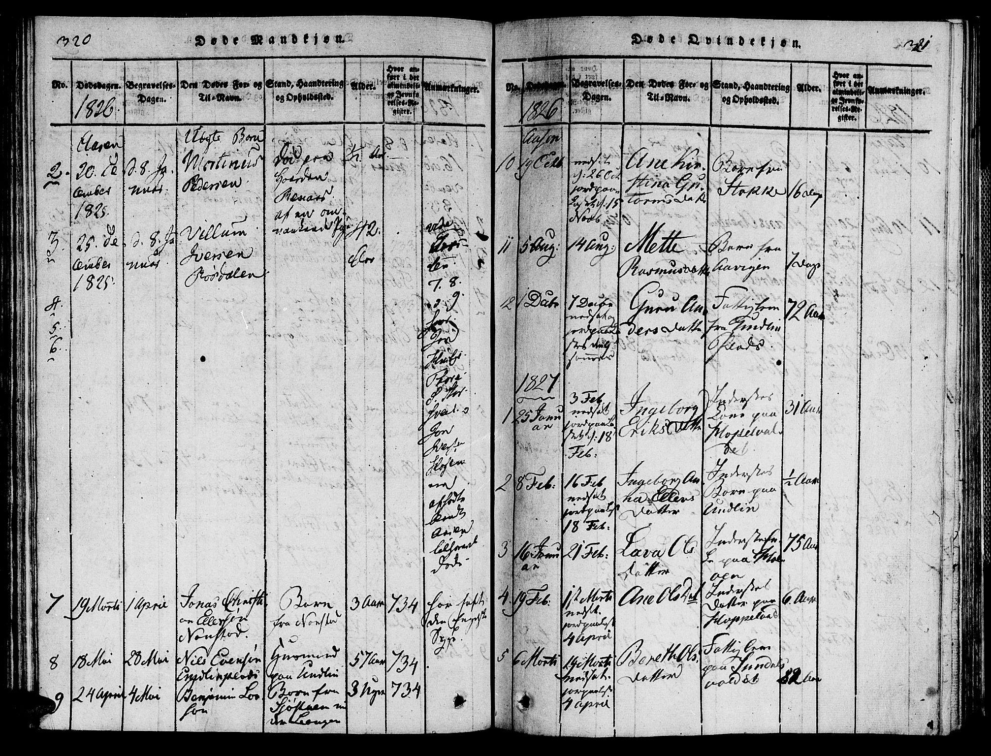 SAT, Ministerialprotokoller, klokkerbøker og fødselsregistre - Nord-Trøndelag, 713/L0112: Ministerialbok nr. 713A04 /2, 1817-1827, s. 320-321