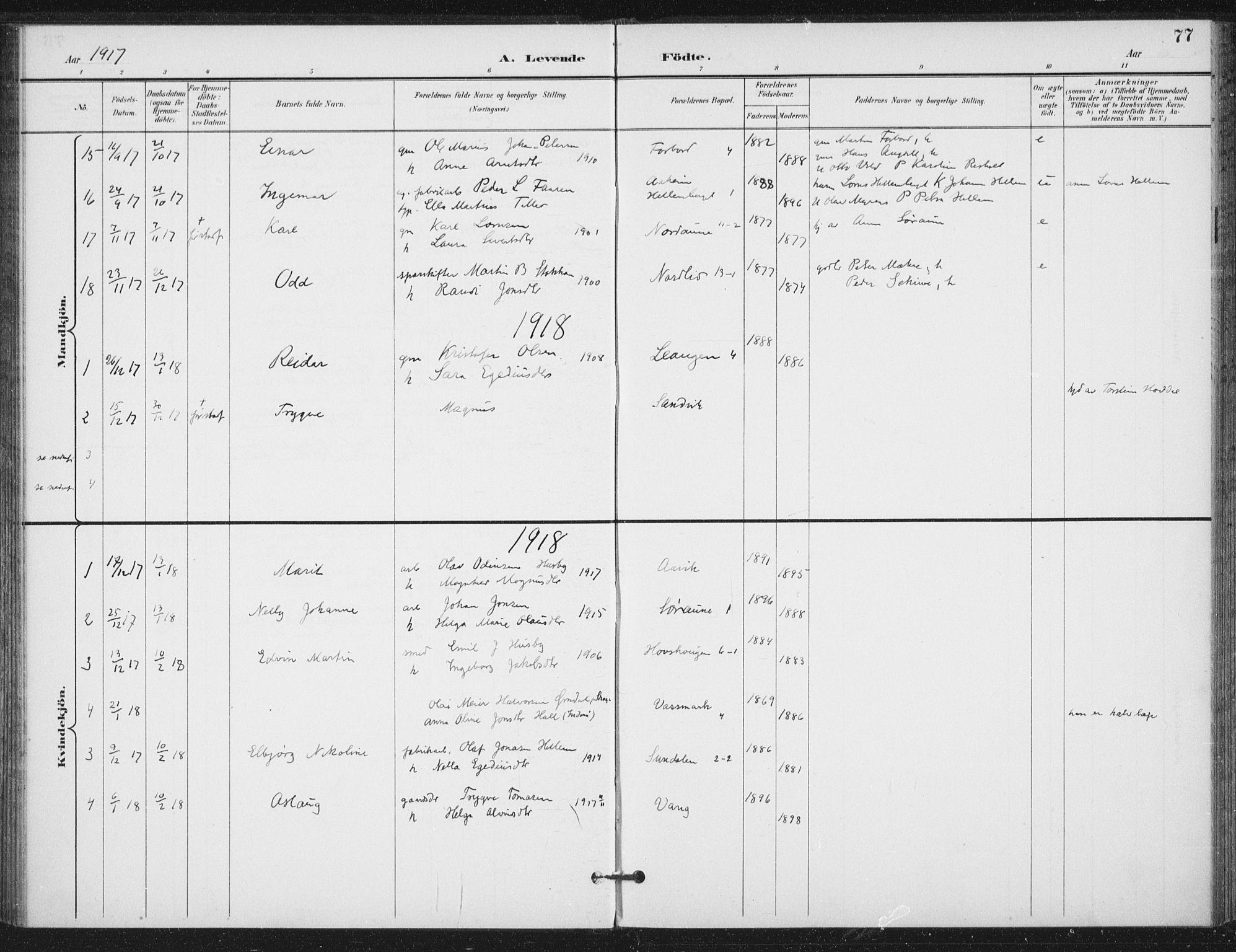 SAT, Ministerialprotokoller, klokkerbøker og fødselsregistre - Nord-Trøndelag, 714/L0131: Ministerialbok nr. 714A02, 1896-1918, s. 77