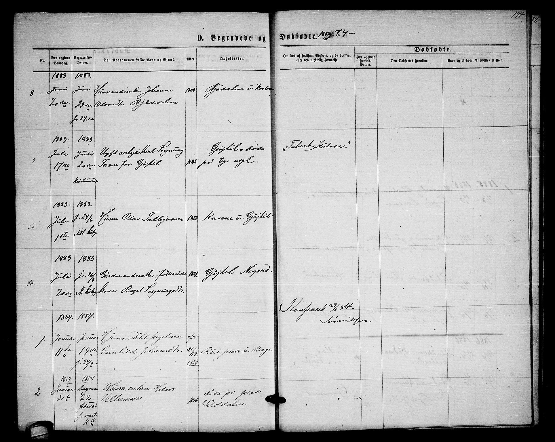 SAKO, Lårdal kirkebøker, G/Gb/L0002: Klokkerbok nr. II 2, 1865-1888, s. 194