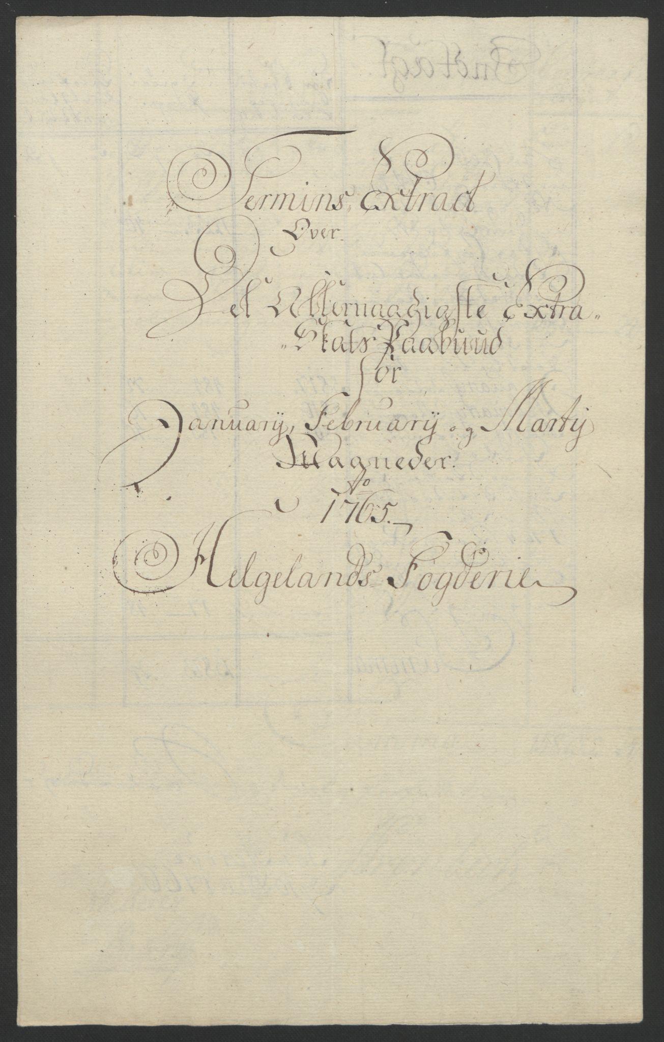 RA, Rentekammeret inntil 1814, Reviderte regnskaper, Fogderegnskap, R65/L4573: Ekstraskatten Helgeland, 1762-1772, s. 95