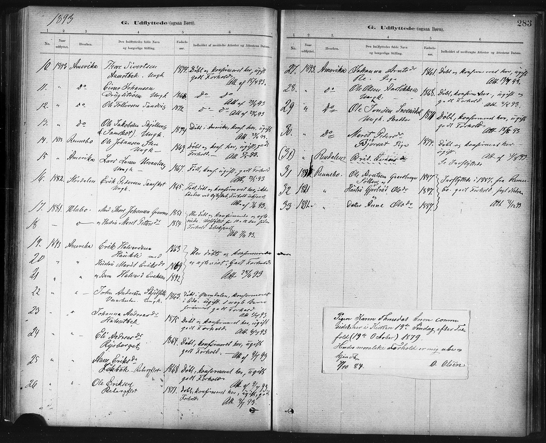 SAT, Ministerialprotokoller, klokkerbøker og fødselsregistre - Sør-Trøndelag, 672/L0857: Ministerialbok nr. 672A09, 1882-1893, s. 283
