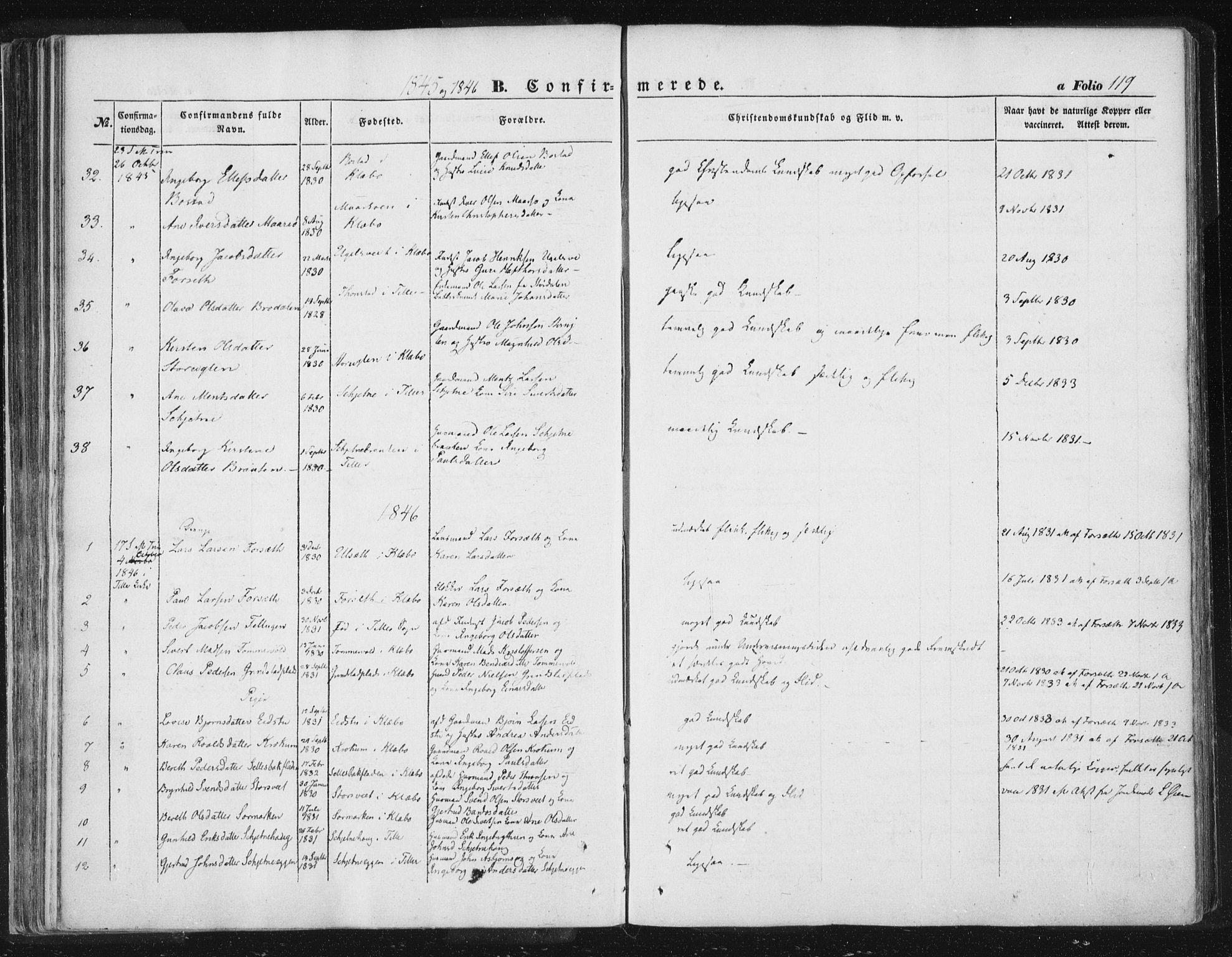 SAT, Ministerialprotokoller, klokkerbøker og fødselsregistre - Sør-Trøndelag, 618/L0441: Ministerialbok nr. 618A05, 1843-1862, s. 119