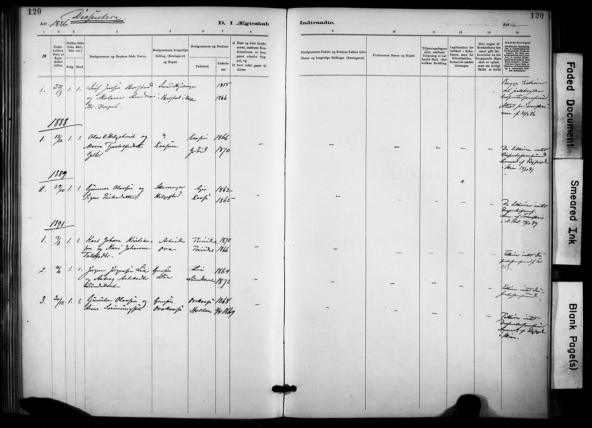 SAKO, Lunde kirkebøker, F/Fa/L0002: Ministerialbok nr. I 2, 1884-1892, s. 120