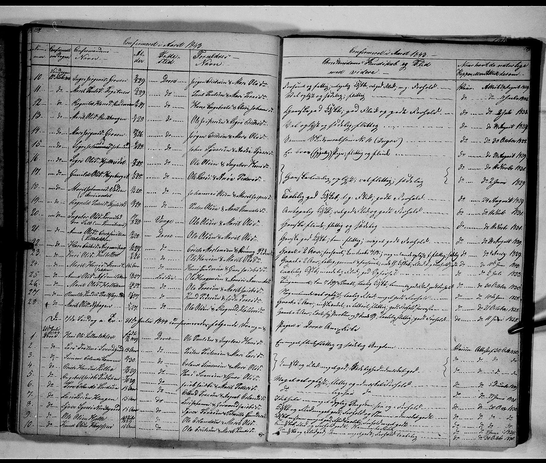 SAH, Lesja prestekontor, Klokkerbok nr. 3, 1842-1862, s. 188-189