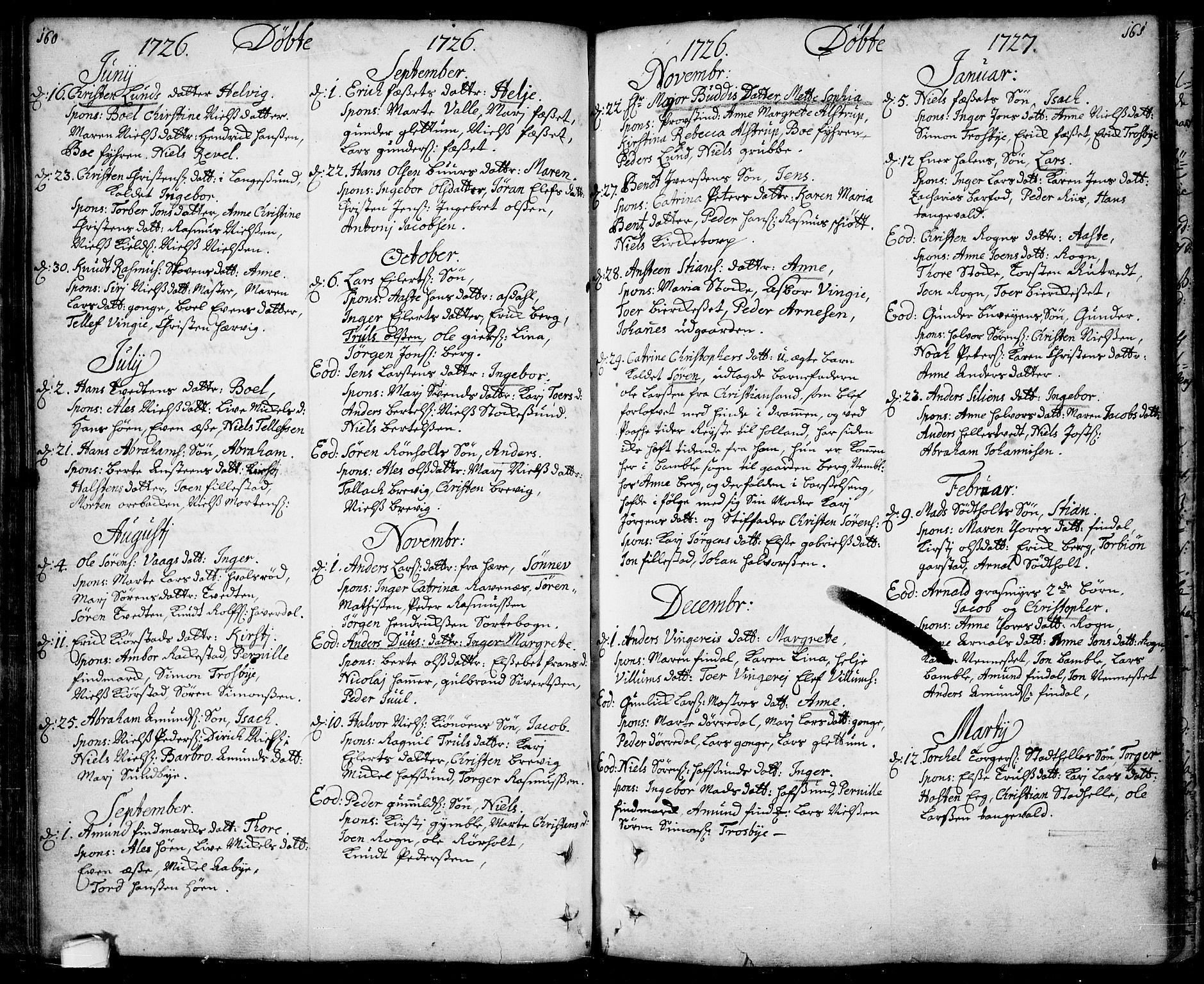 SAKO, Bamble kirkebøker, F/Fa/L0001: Ministerialbok nr. I 1, 1702-1774, s. 160-161