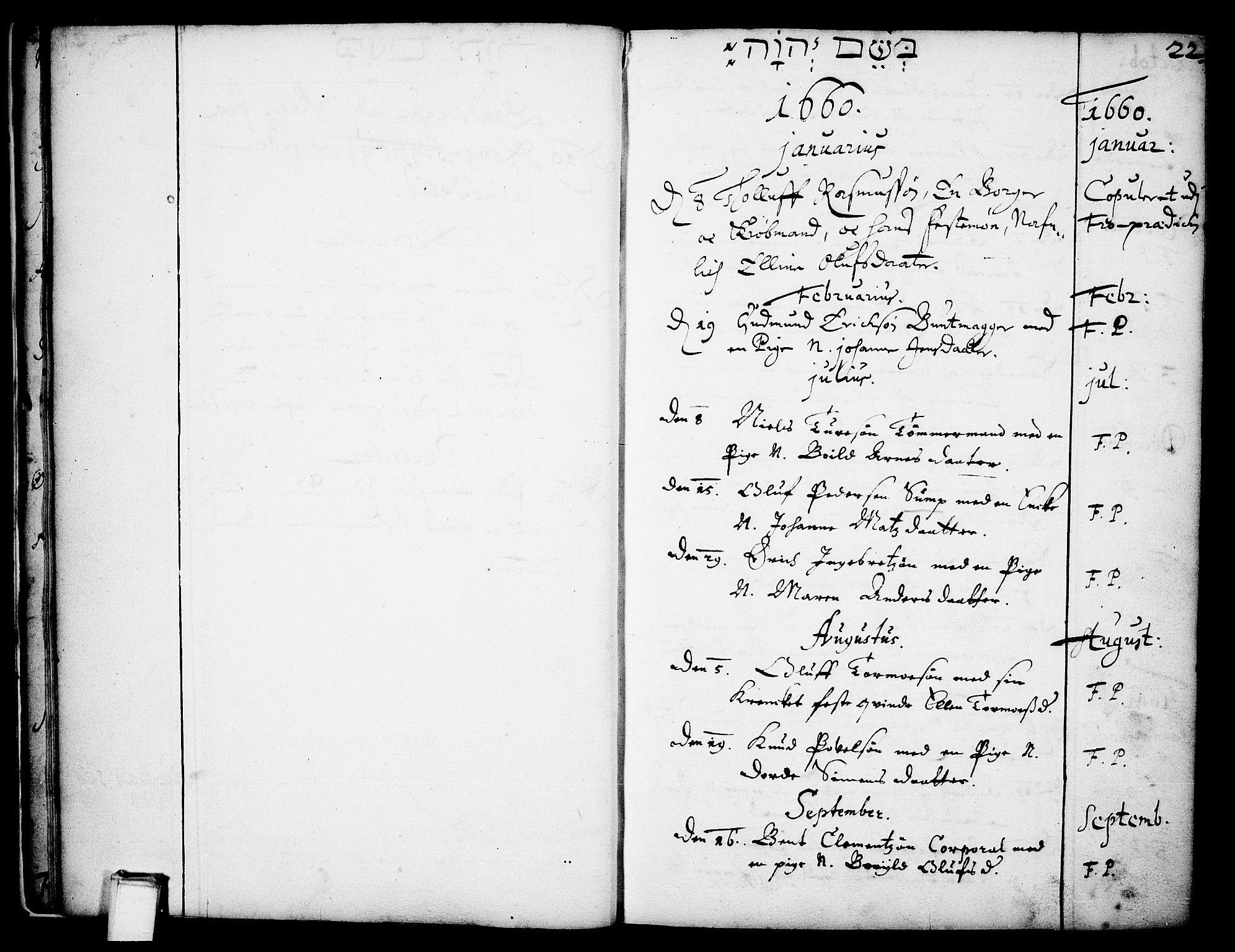 SAKO, Skien kirkebøker, F/Fa/L0001: Ministerialbok nr. 1, 1659-1679, s. 22