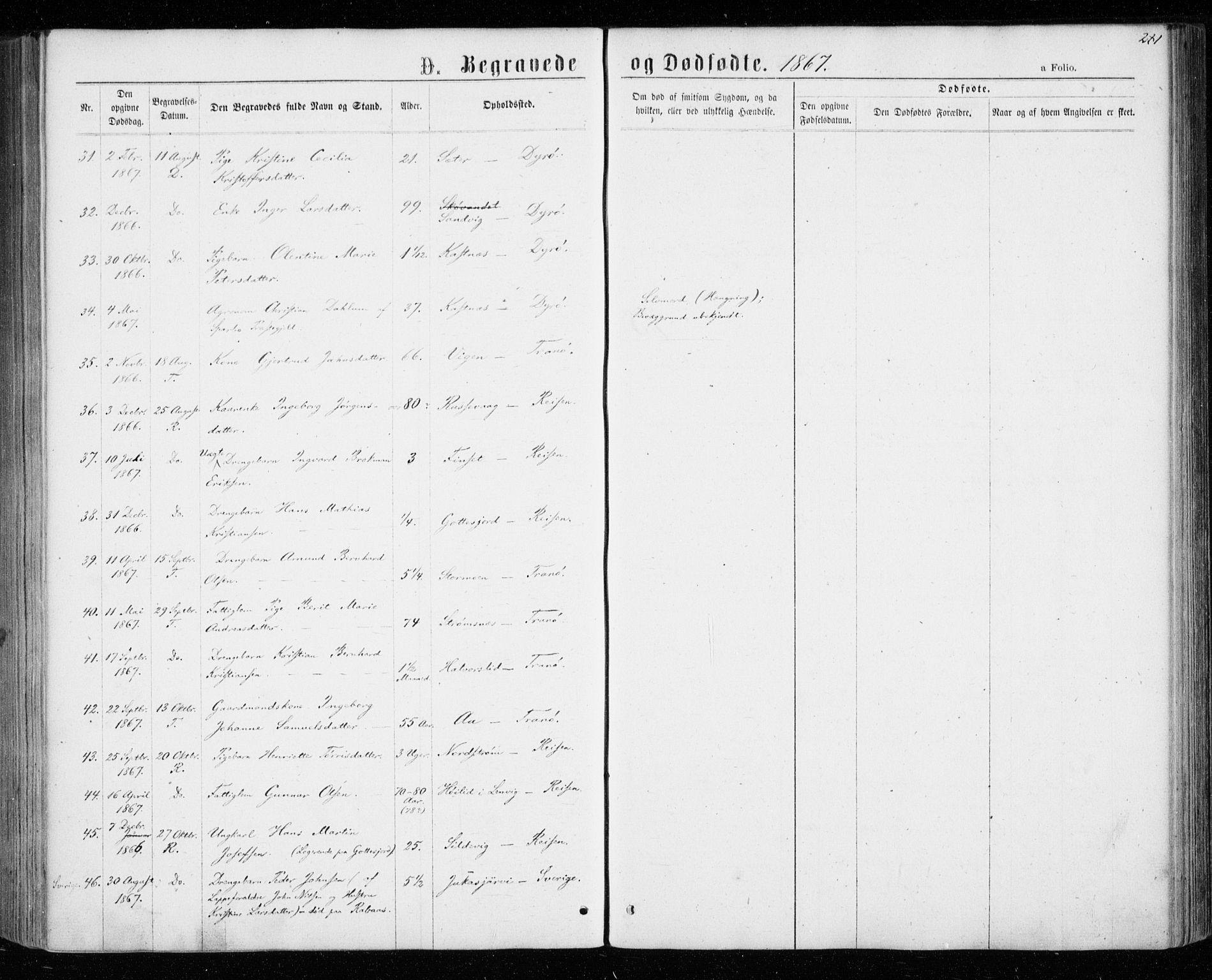 SATØ, Tranøy sokneprestkontor, I/Ia/Iaa/L0008kirke: Ministerialbok nr. 8, 1867-1877, s. 281