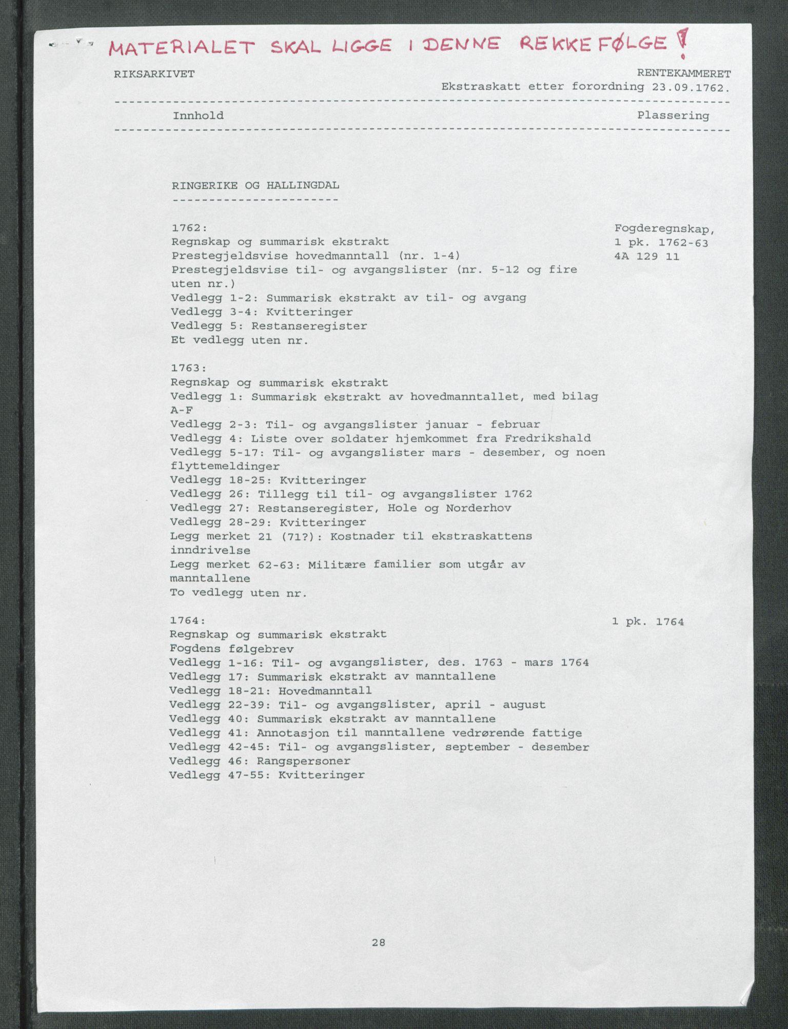 RA, Rentekammeret inntil 1814, Reviderte regnskaper, Fogderegnskap, R23/L1565: Ekstraskatten Ringerike og Hallingdal, 1762-1763, s. 2