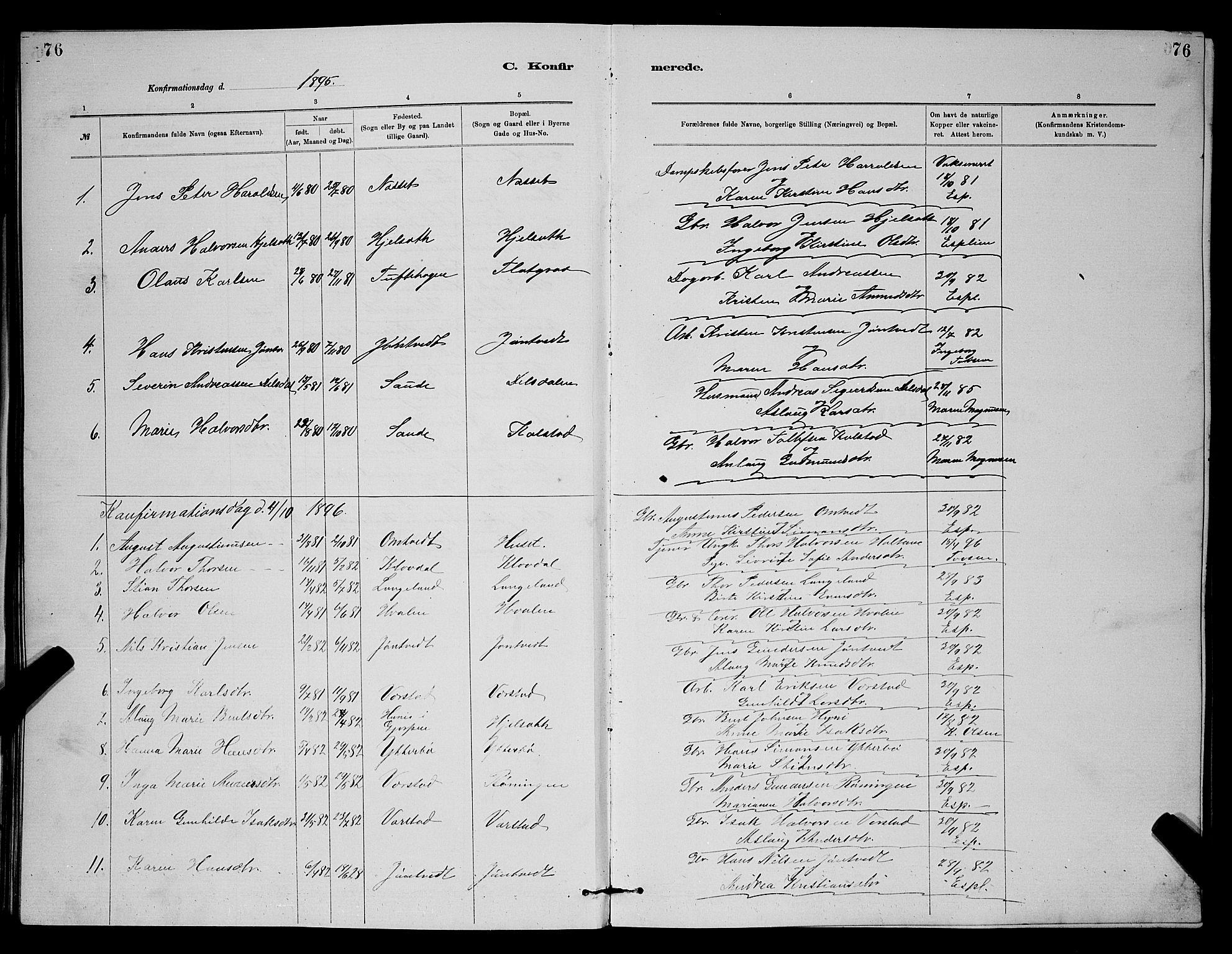 SAKO, Holla kirkebøker, G/Gb/L0001: Klokkerbok nr. II 1, 1882-1897, s. 76