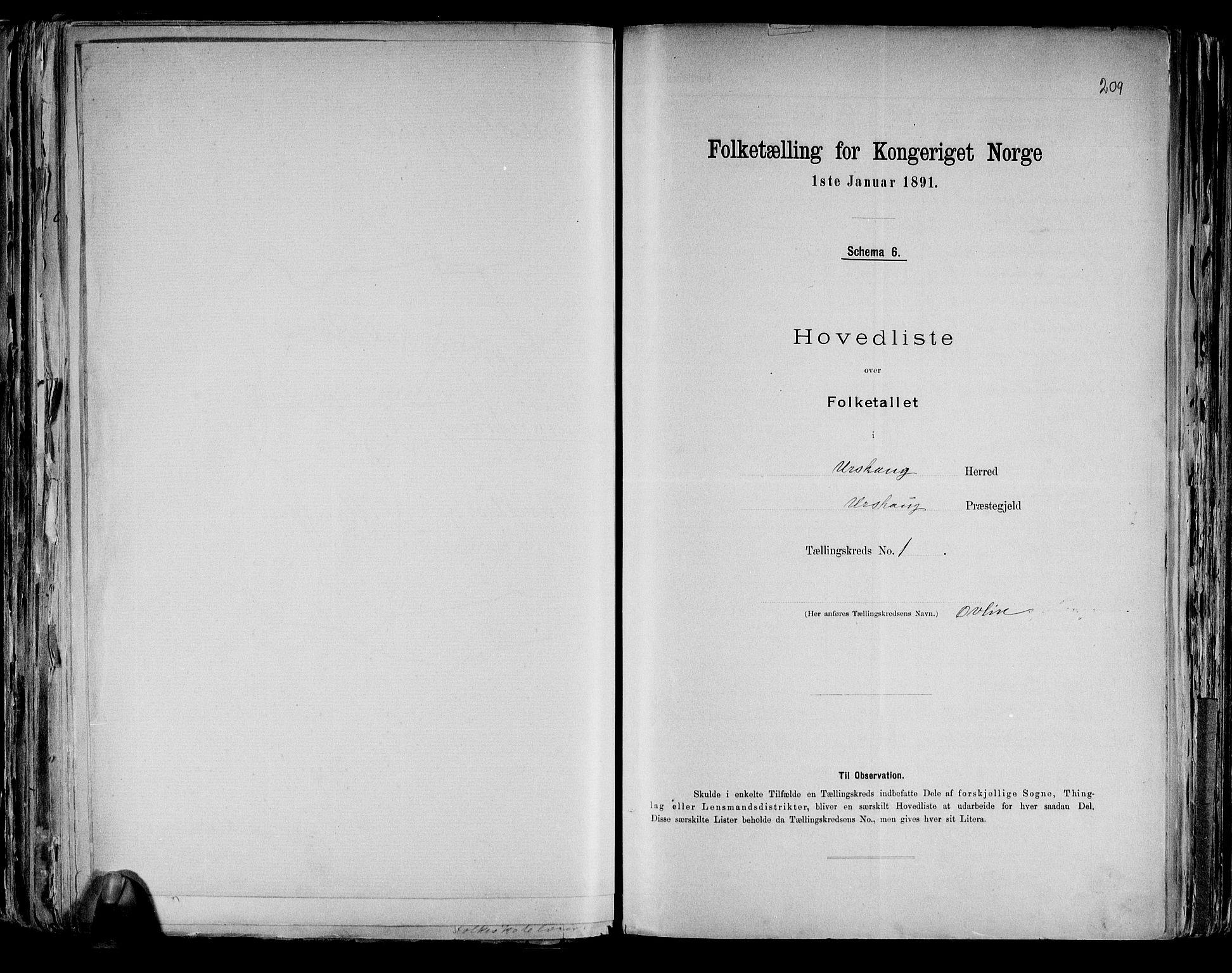 RA, Folketelling 1891 for 0224 Aurskog herred, 1891, s. 6