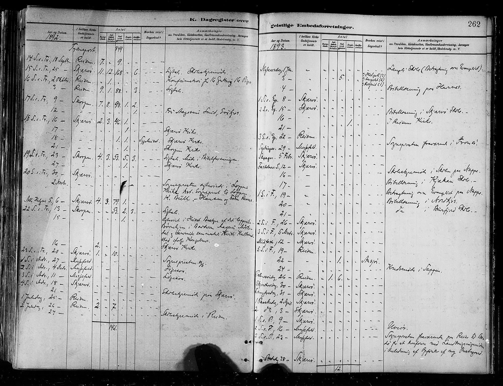 SATØ, Skjervøy sokneprestkontor, H/Ha/Haa/L0010kirke: Ministerialbok nr. 10, 1887-1898, s. 262