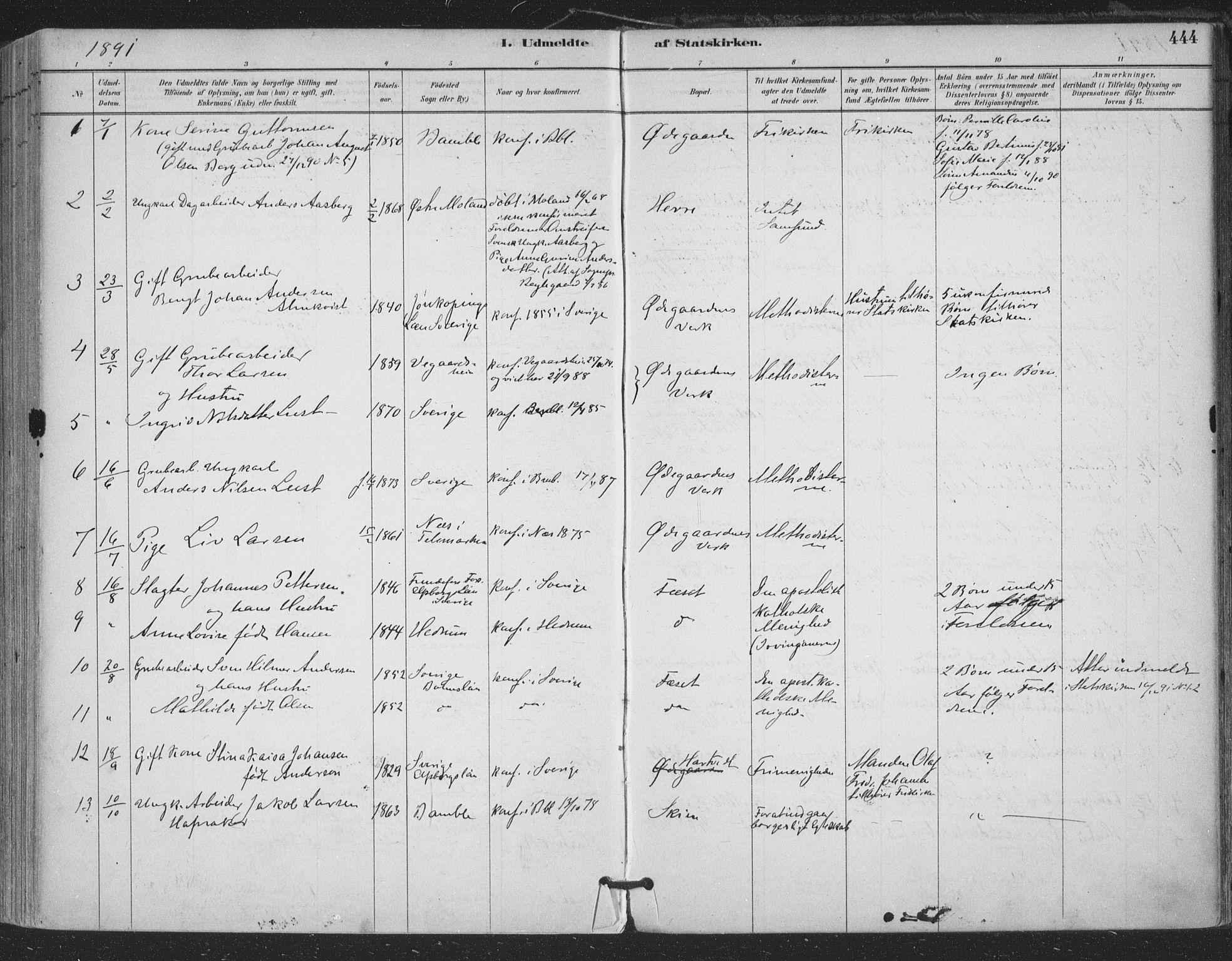 SAKO, Bamble kirkebøker, F/Fa/L0008: Ministerialbok nr. I 8, 1888-1900, s. 444