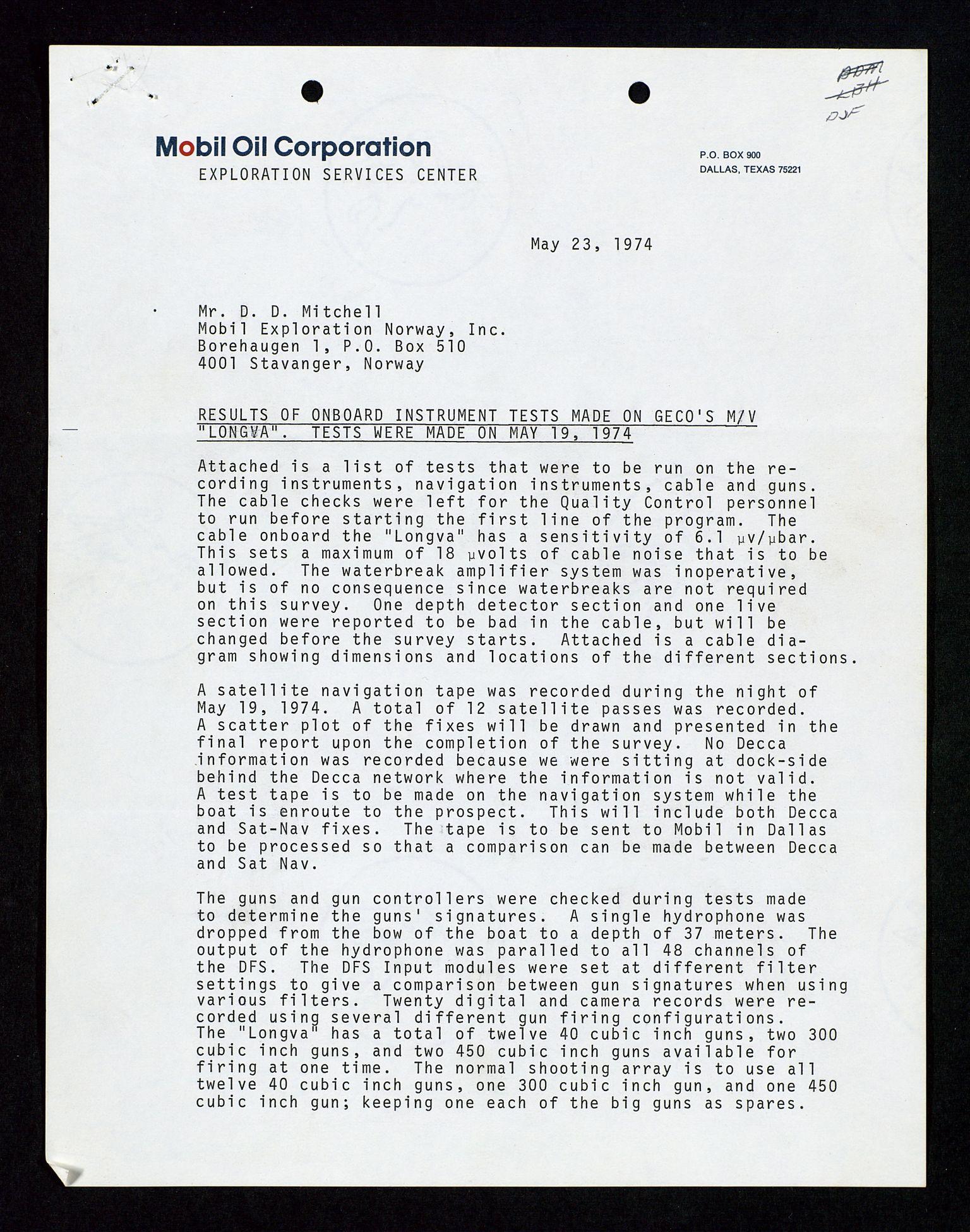 SAST, Pa 1578 - Mobil Exploration Norway Incorporated, D/Da/L0116: S.E. Smith - Sak og korrespondanse, 1973-1976, s. 4