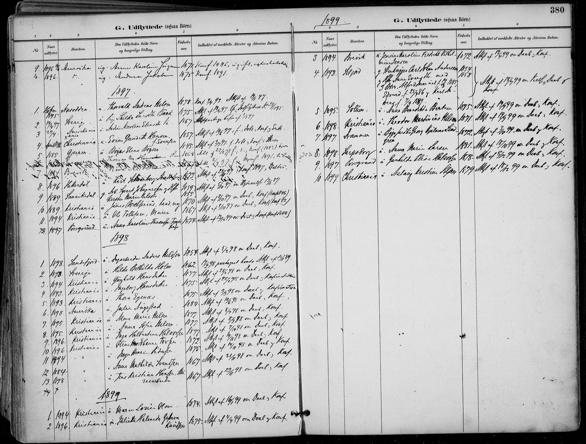 SAKO, Skien kirkebøker, F/Fa/L0010: Ministerialbok nr. 10, 1891-1899, s. 380