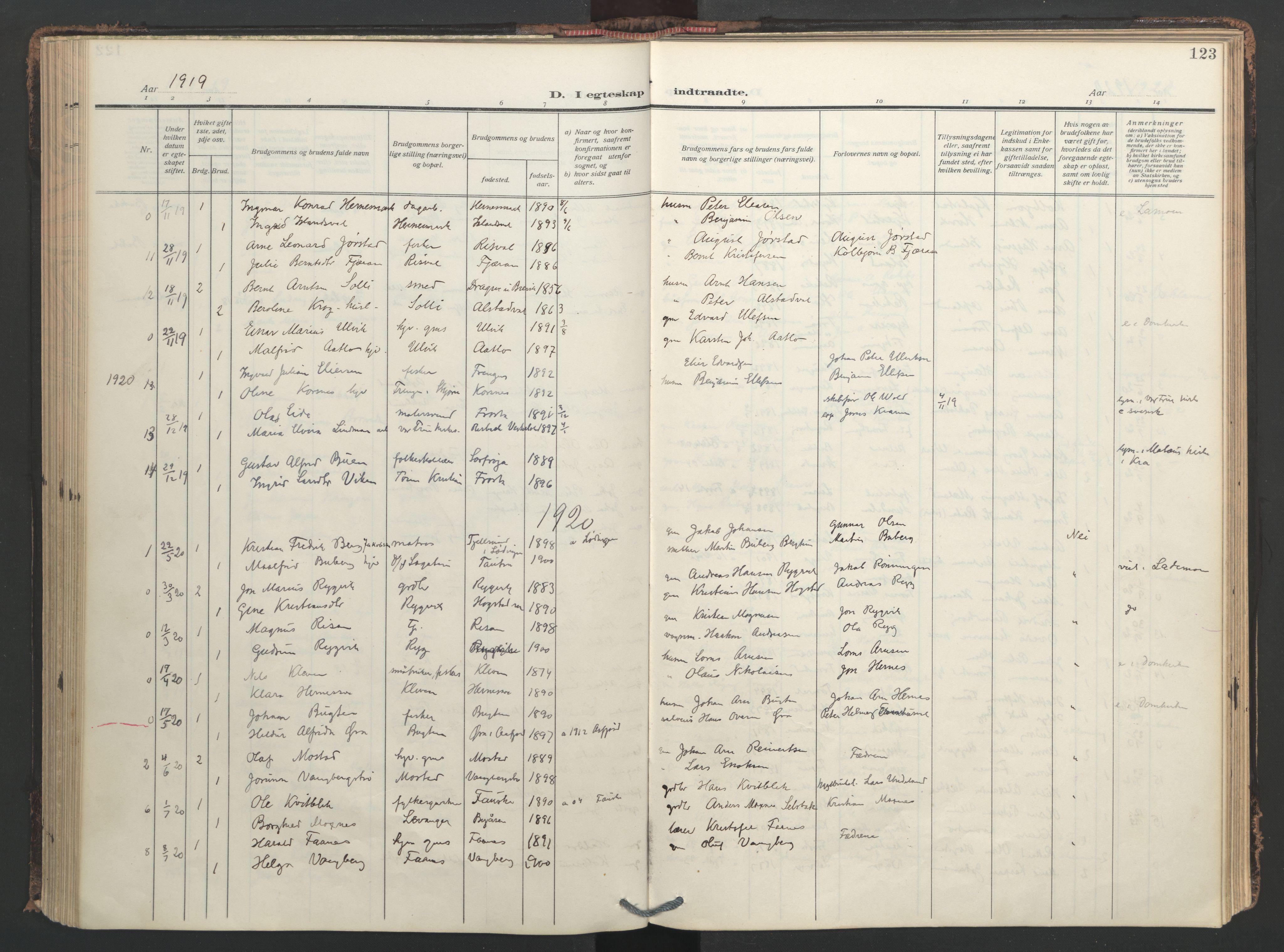 SAT, Ministerialprotokoller, klokkerbøker og fødselsregistre - Nord-Trøndelag, 713/L0123: Ministerialbok nr. 713A12, 1911-1925, s. 123