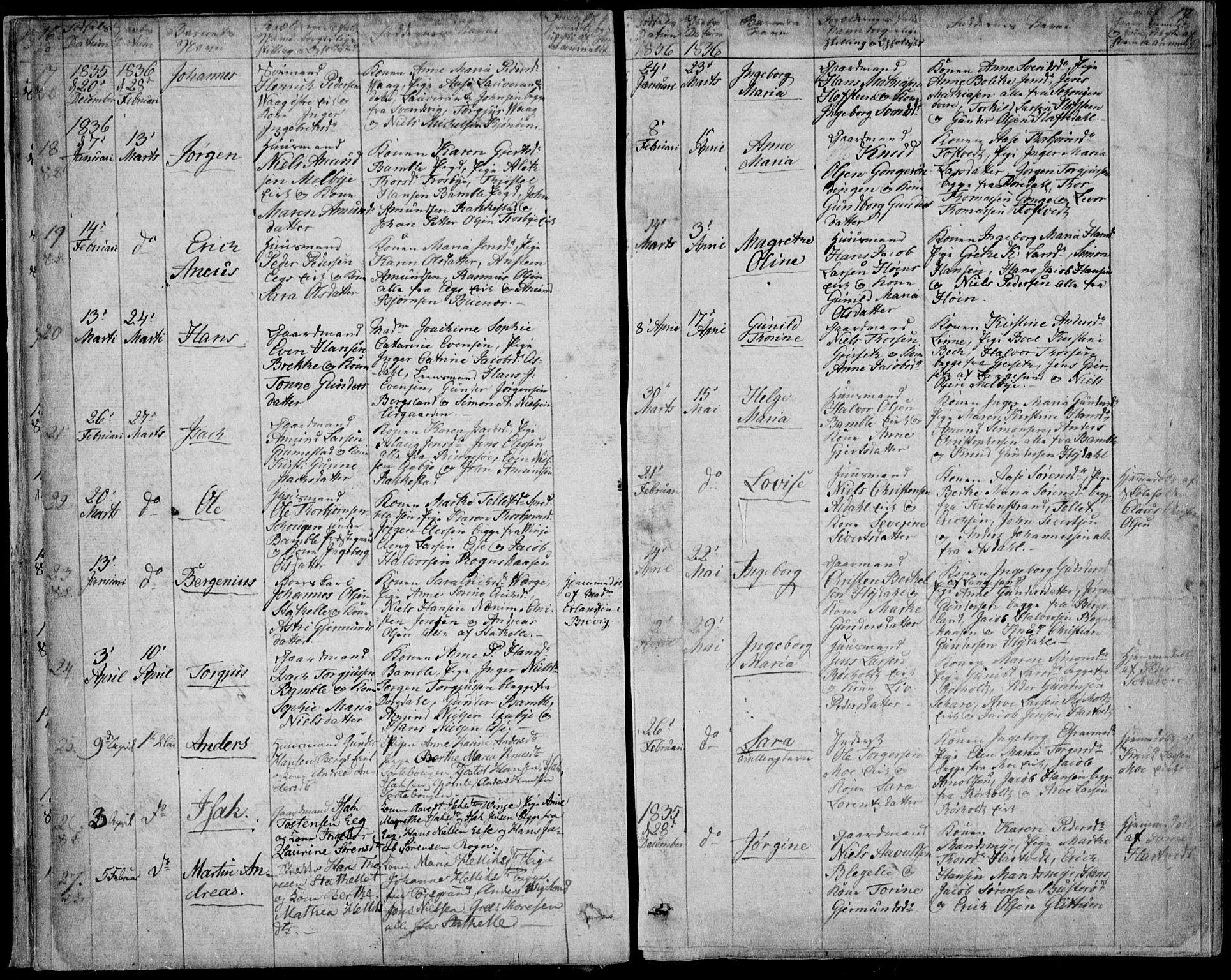 SAKO, Bamble kirkebøker, F/Fa/L0004: Ministerialbok nr. I 4, 1834-1853, s. 16-17