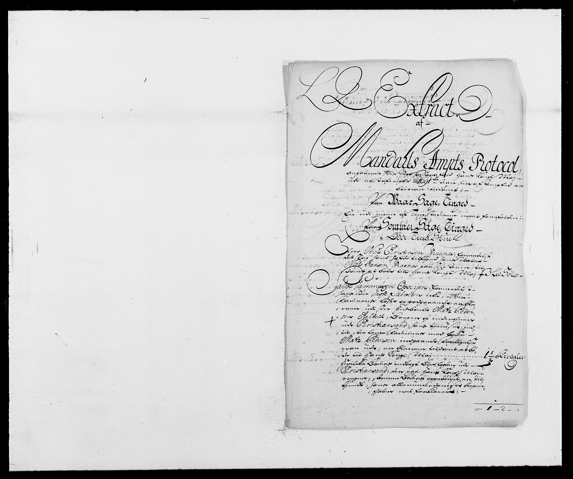 RA, Rentekammeret inntil 1814, Reviderte regnskaper, Fogderegnskap, R42/L2543: Mandal fogderi, 1688-1691, s. 252