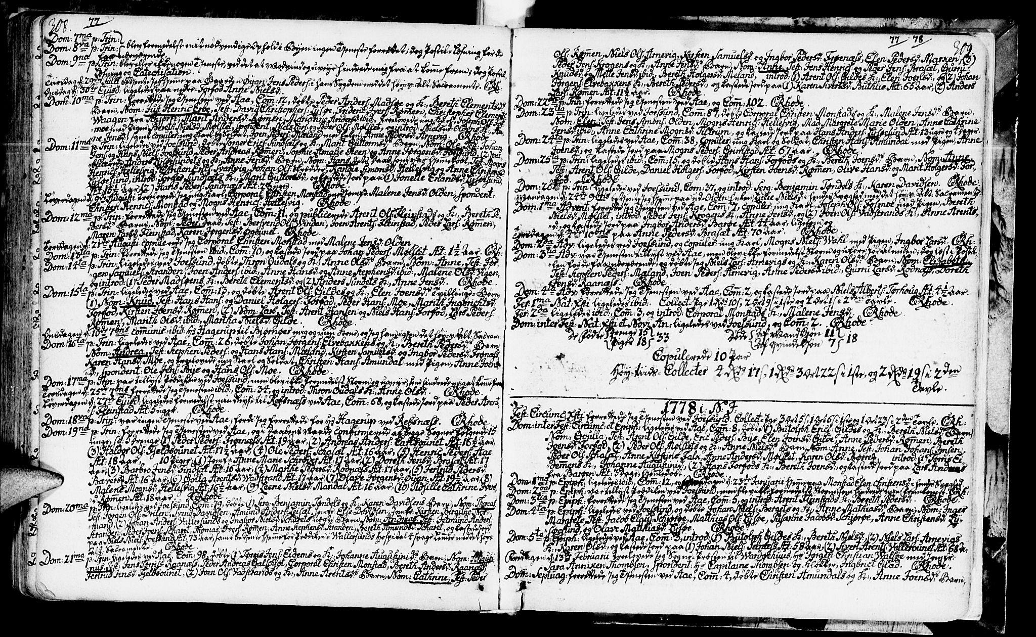 SAT, Ministerialprotokoller, klokkerbøker og fødselsregistre - Sør-Trøndelag, 655/L0672: Ministerialbok nr. 655A01, 1750-1779, s. 308-309