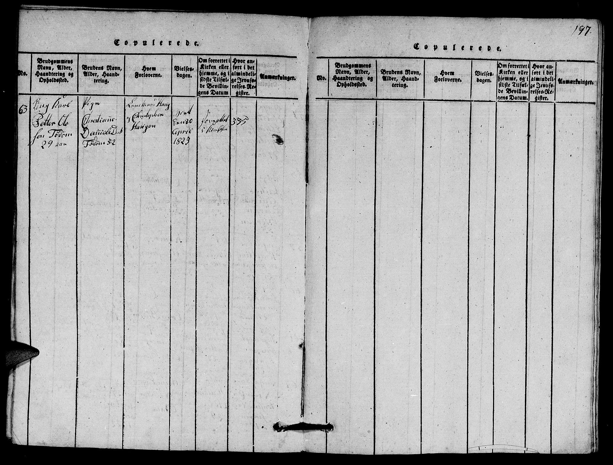 SAT, Ministerialprotokoller, klokkerbøker og fødselsregistre - Nord-Trøndelag, 770/L0590: Klokkerbok nr. 770C01, 1815-1824, s. 197