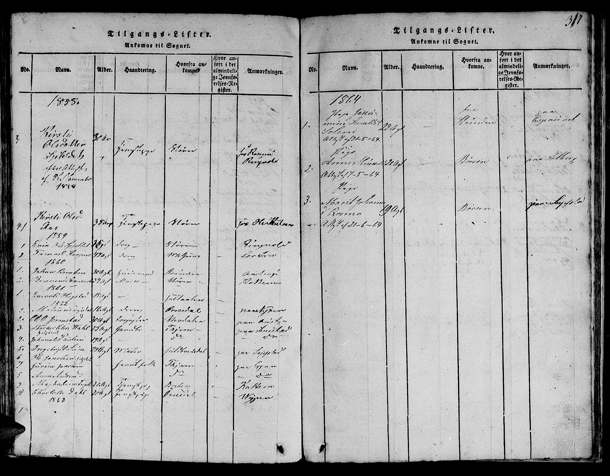 SAT, Ministerialprotokoller, klokkerbøker og fødselsregistre - Sør-Trøndelag, 613/L0393: Klokkerbok nr. 613C01, 1816-1886, s. 317