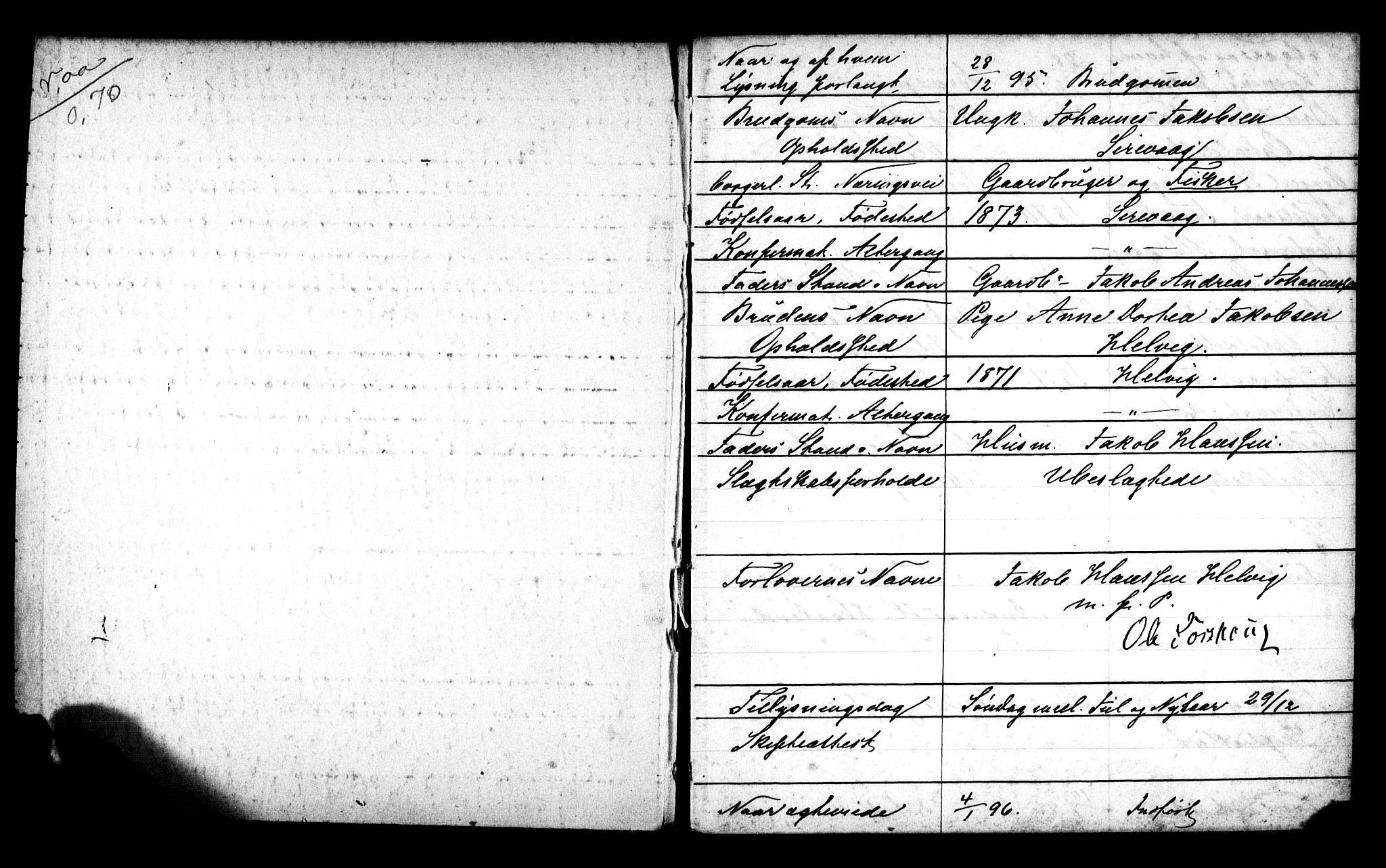 SAST, Egersund sokneprestkontor, Lysningsprotokoll nr. 705BA2, 1895-1900