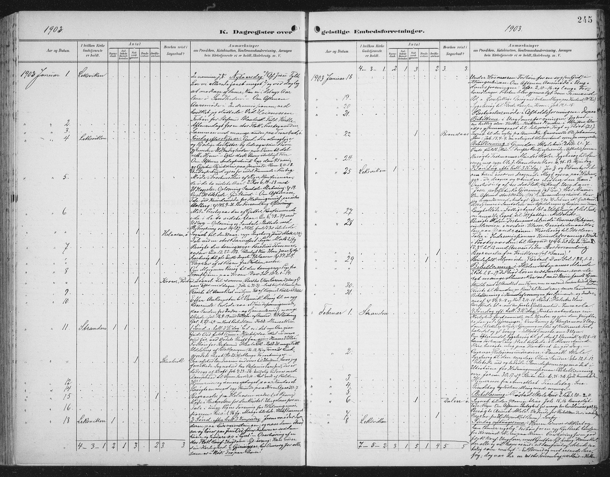 SAT, Ministerialprotokoller, klokkerbøker og fødselsregistre - Nord-Trøndelag, 701/L0011: Ministerialbok nr. 701A11, 1899-1915, s. 245