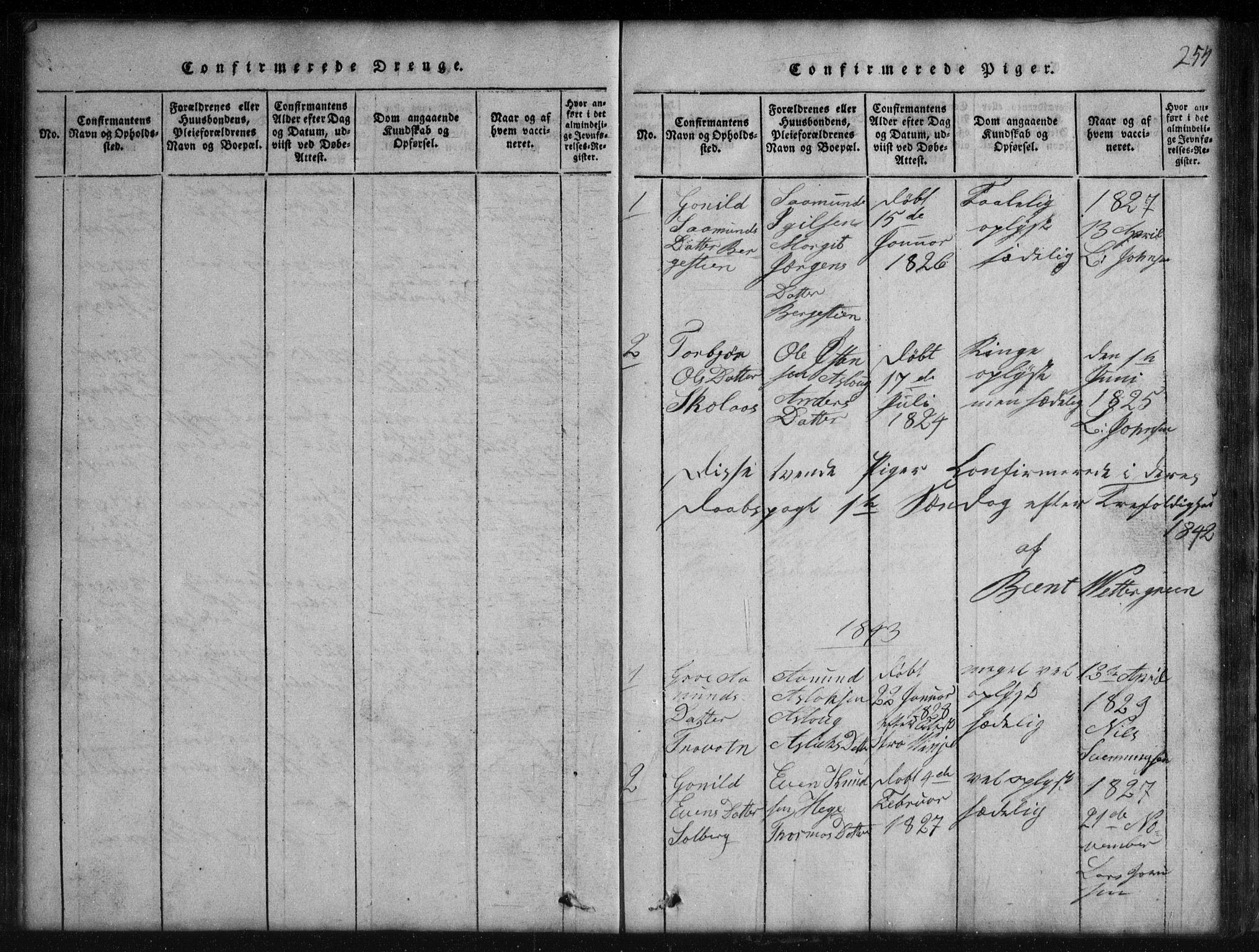 SAKO, Rauland kirkebøker, G/Gb/L0001: Klokkerbok nr. II 1, 1815-1886, s. 254