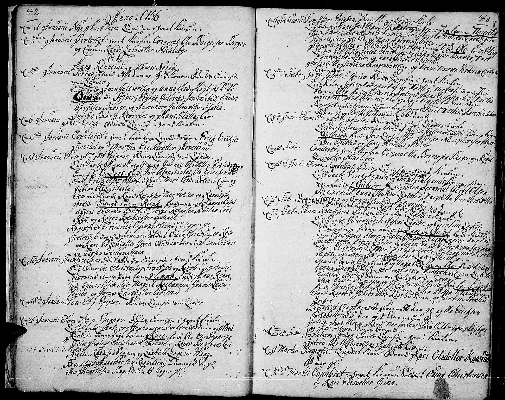 SAH, Jevnaker prestekontor, Ministerialbok nr. 3, 1752-1799, s. 42-43