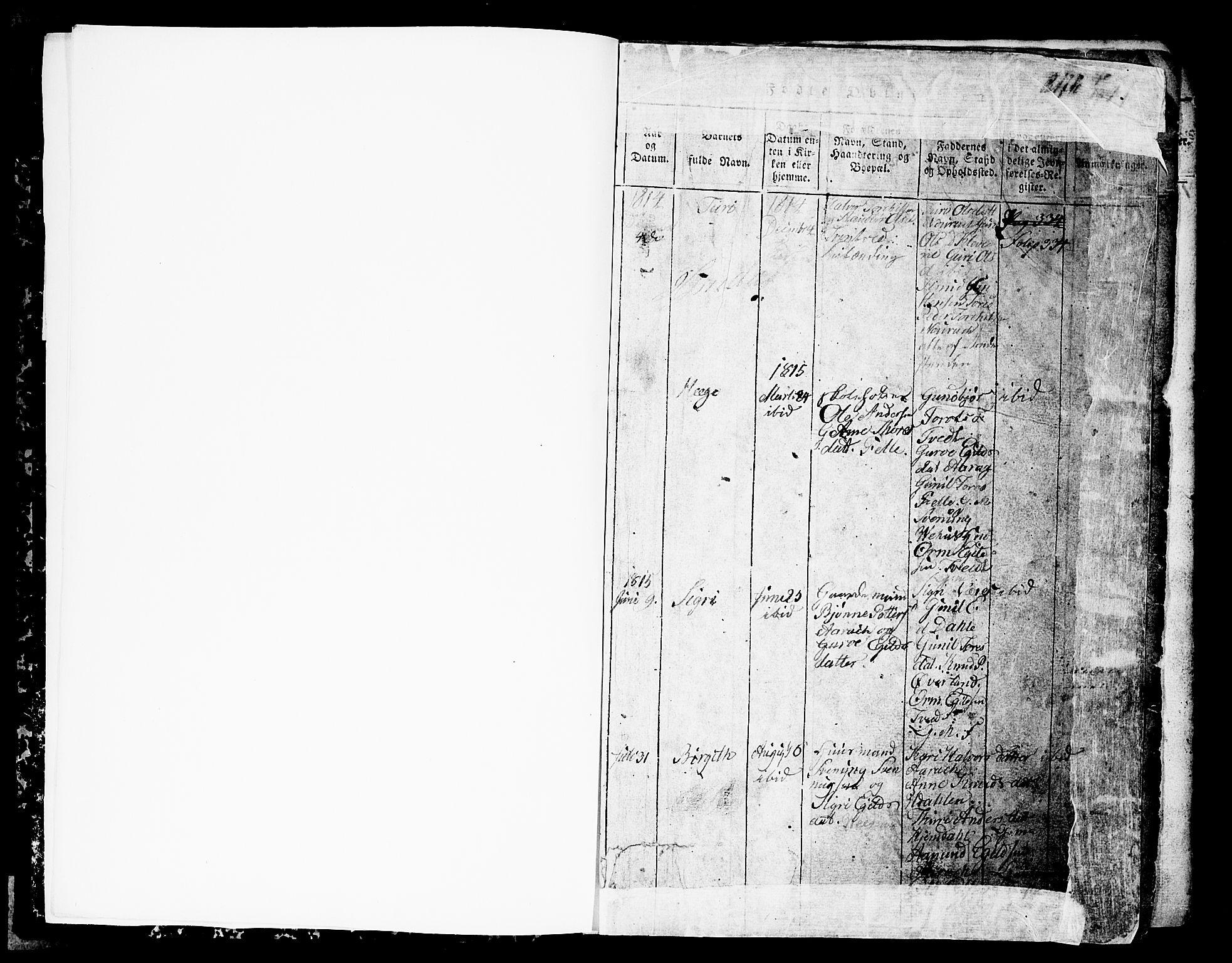 SAKO, Nissedal kirkebøker, G/Gb/L0001: Klokkerbok nr. II 1, 1814-1862, s. 1
