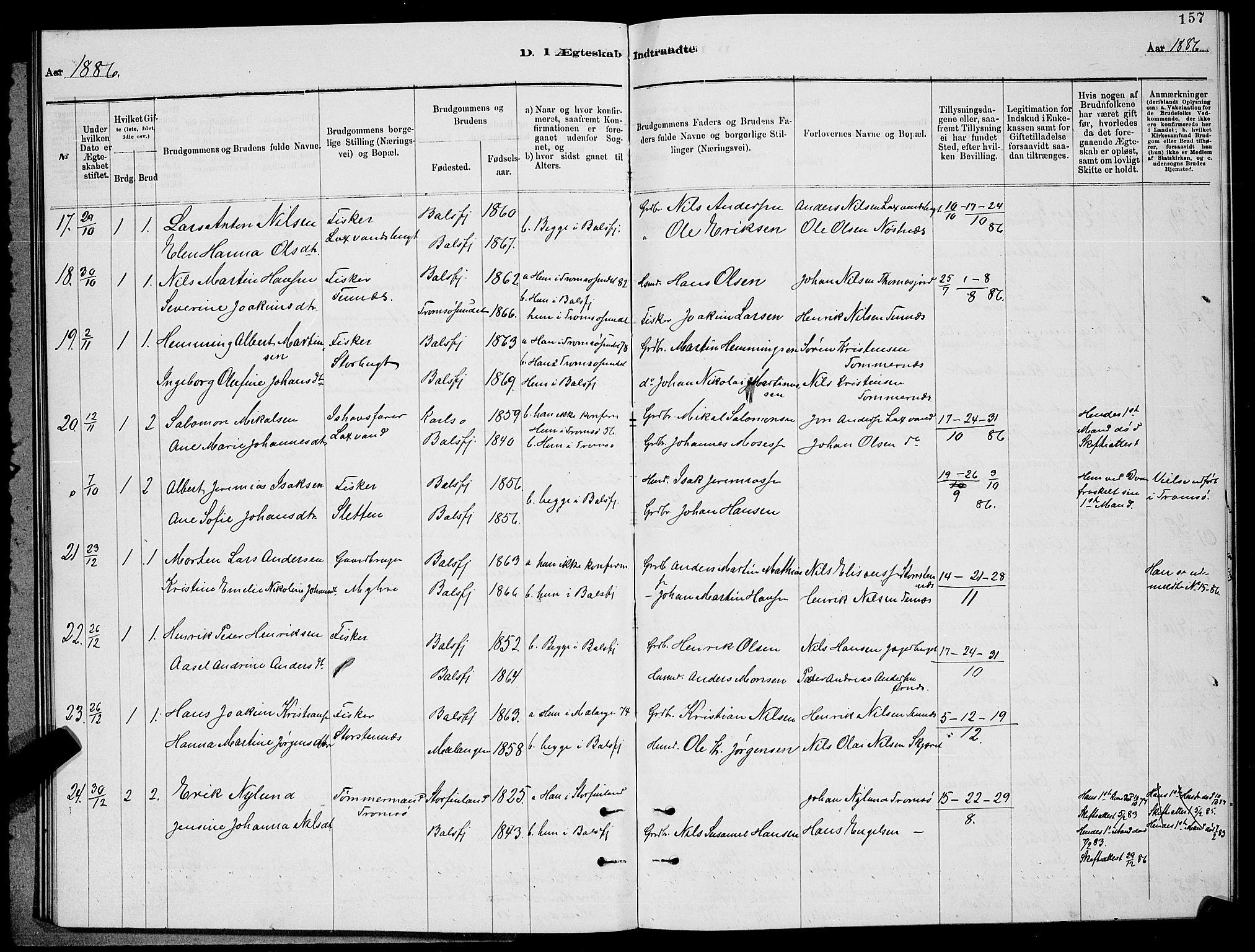 SATØ, Balsfjord sokneprestembete, G/Ga/L0007klokker: Klokkerbok nr. 7, 1878-1889, s. 157