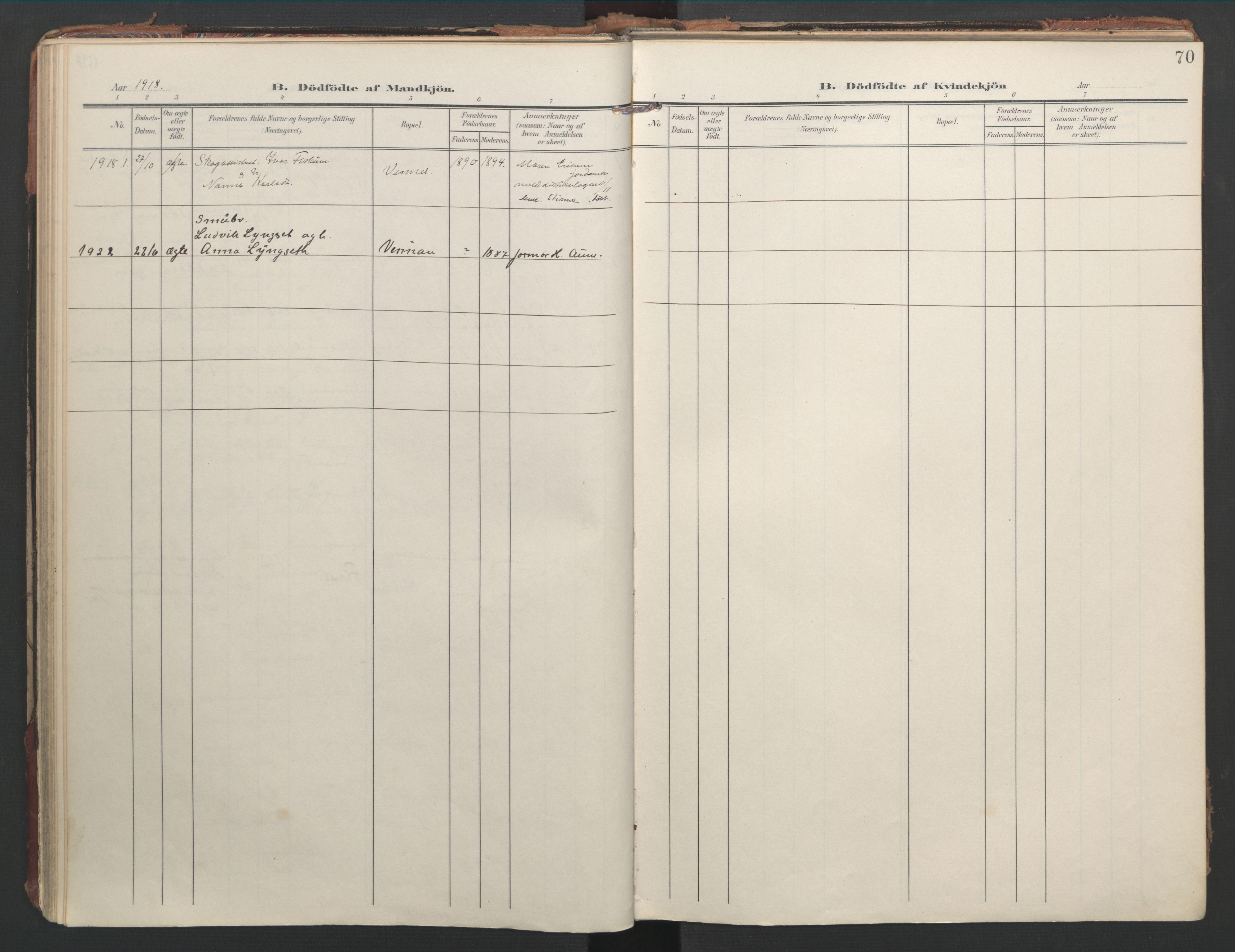 SAT, Ministerialprotokoller, klokkerbøker og fødselsregistre - Nord-Trøndelag, 744/L0421: Ministerialbok nr. 744A05, 1905-1930, s. 70