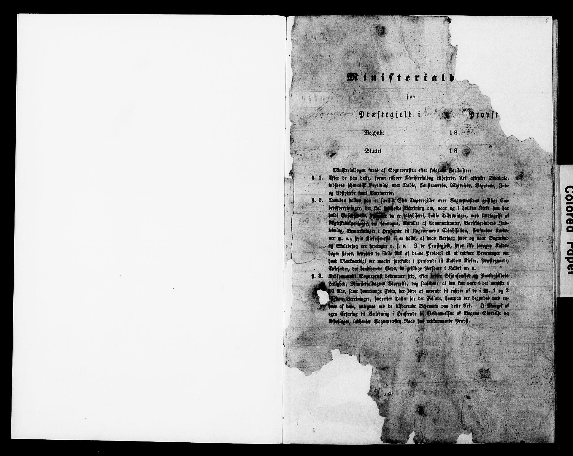 SAB, Manger sokneprestembete, H/Haa: Ministerialbok nr. A 11, 1860-1867, s. 1