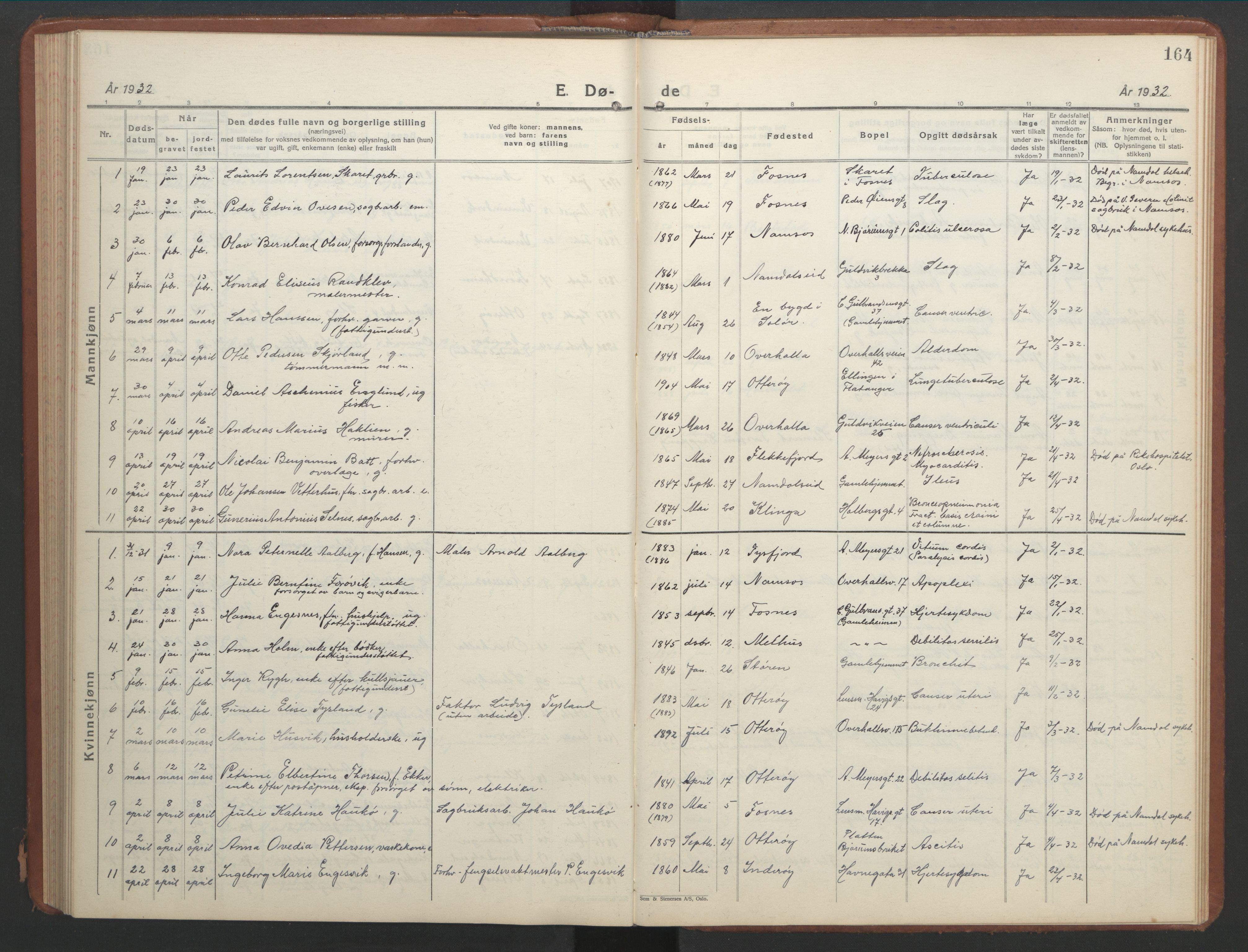 SAT, Ministerialprotokoller, klokkerbøker og fødselsregistre - Nord-Trøndelag, 768/L0583: Klokkerbok nr. 768C01, 1928-1953, s. 164