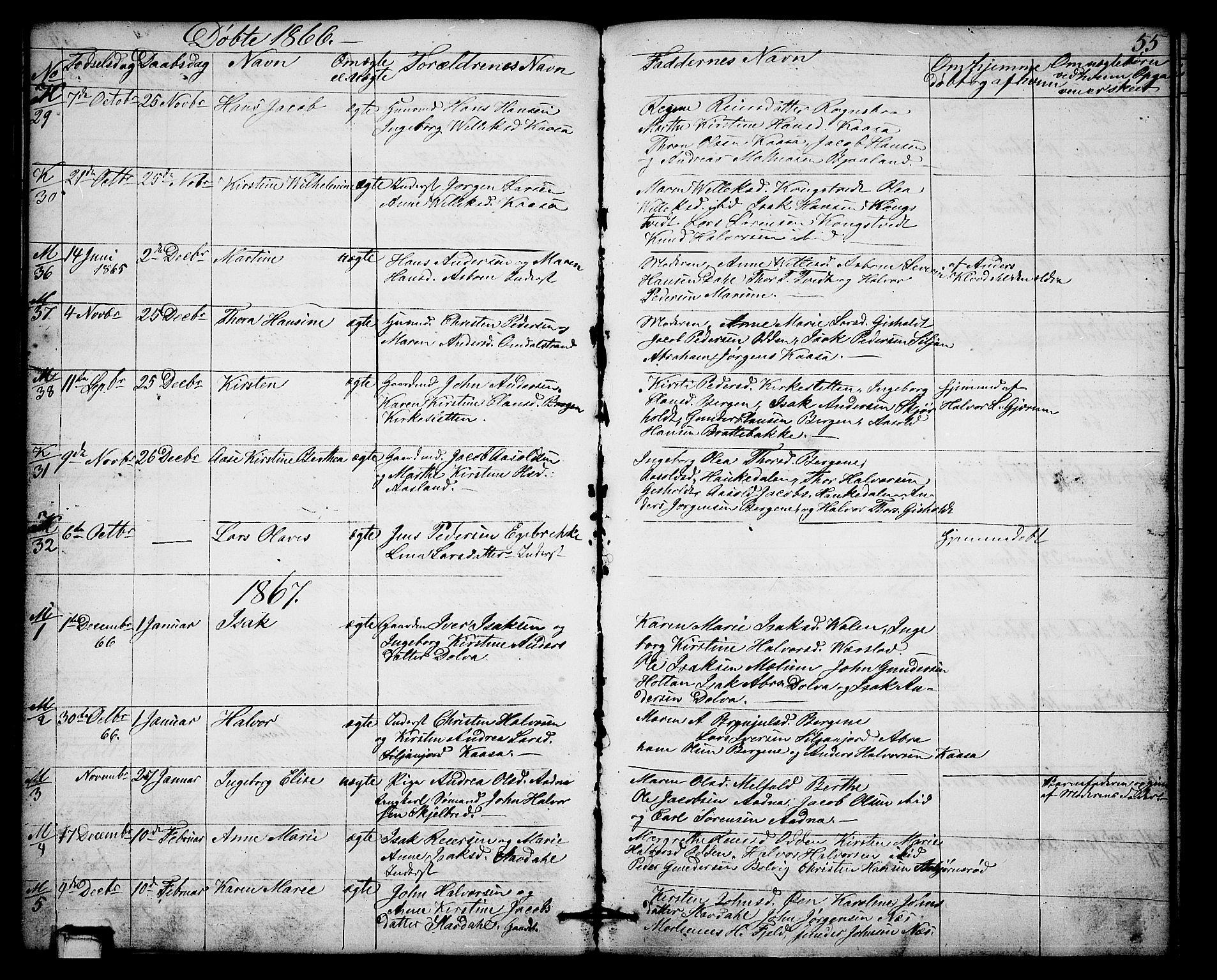 SAKO, Solum kirkebøker, G/Gb/L0002: Klokkerbok nr. II 2, 1859-1879, s. 55
