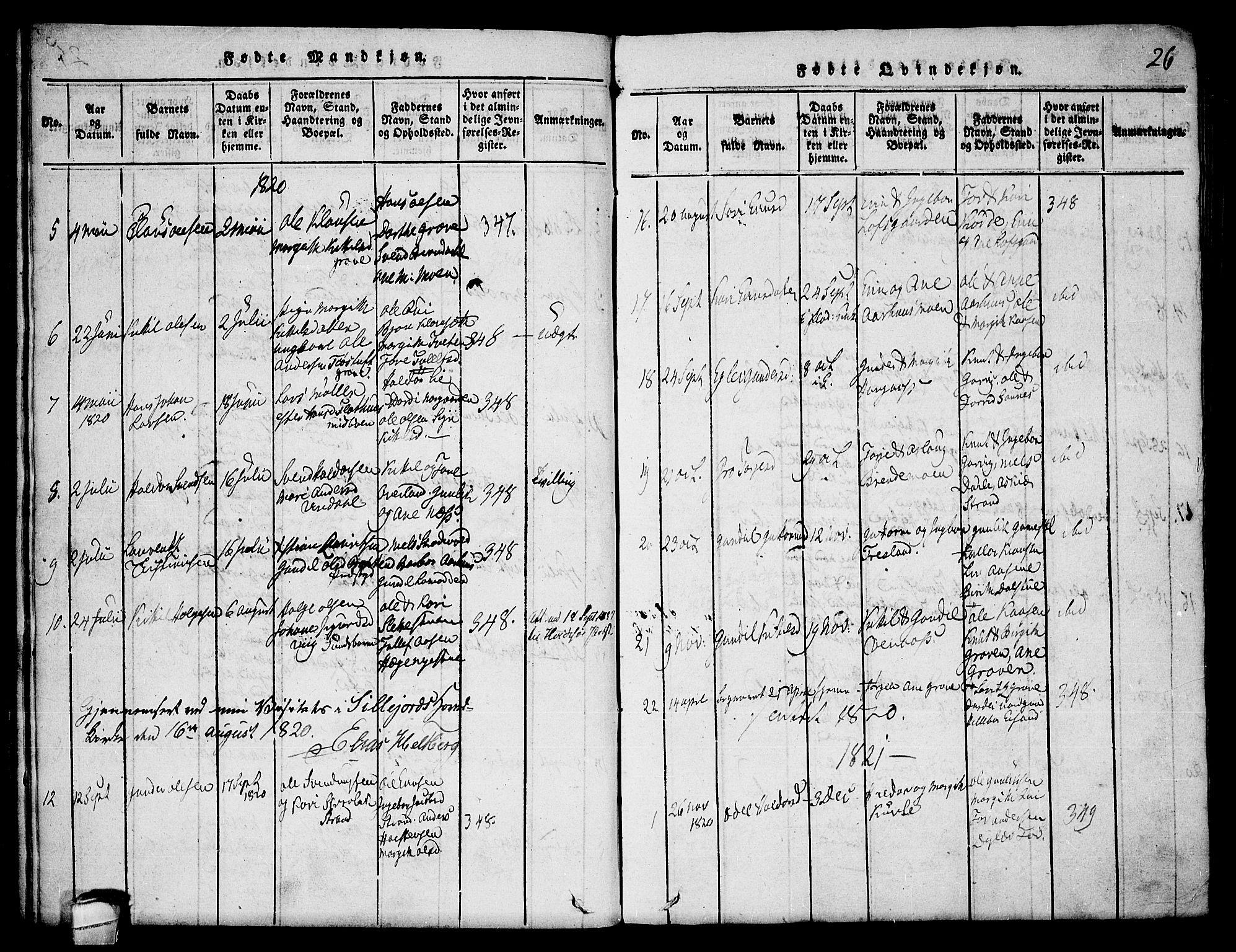 SAKO, Seljord kirkebøker, F/Fa/L0010: Ministerialbok nr. I 10, 1815-1831, s. 26