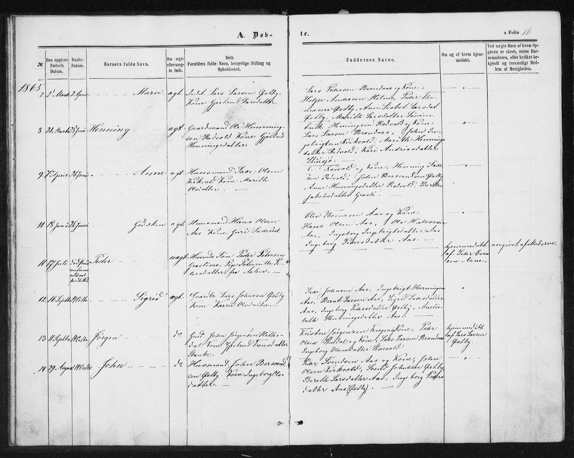 SAT, Ministerialprotokoller, klokkerbøker og fødselsregistre - Sør-Trøndelag, 698/L1166: Klokkerbok nr. 698C03, 1861-1887, s. 16
